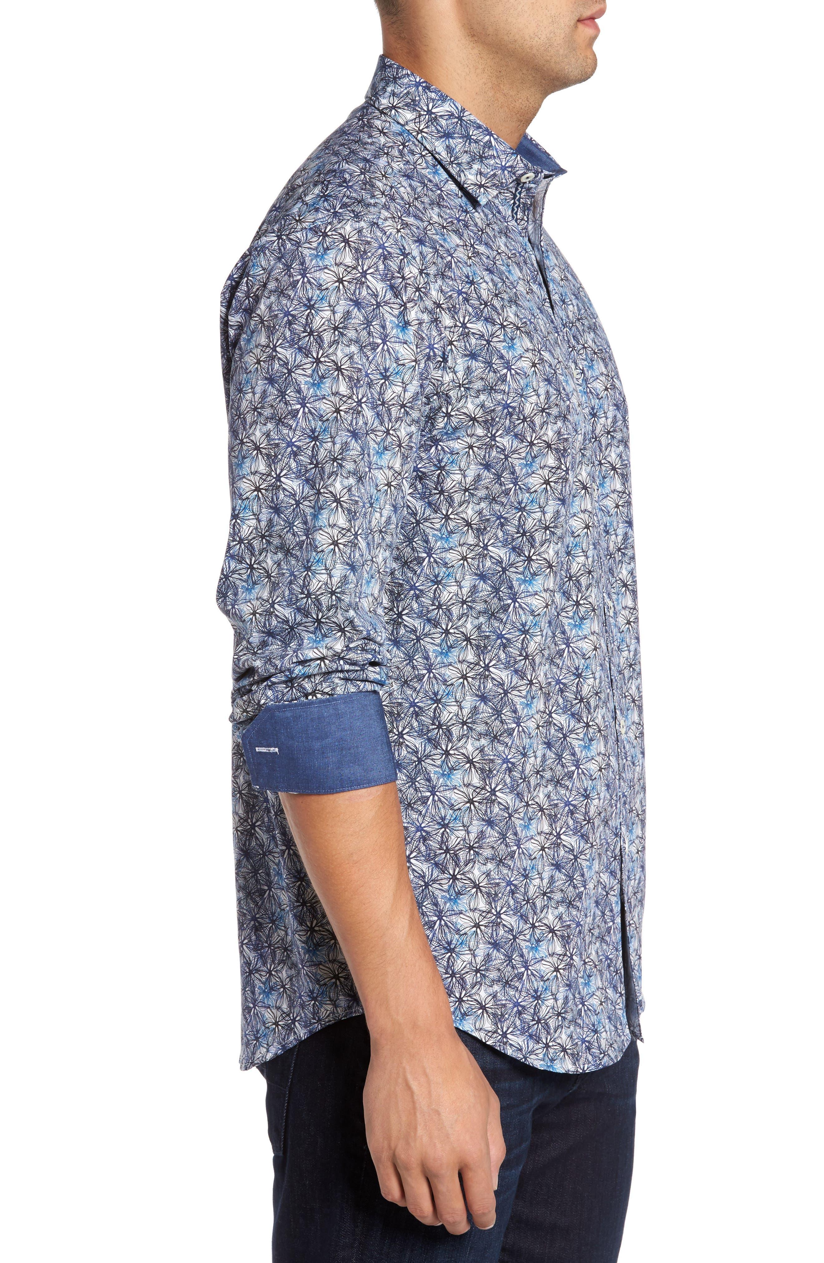 Alternate Image 3  - Bugatchi Trim Fit Print Sport Shirt