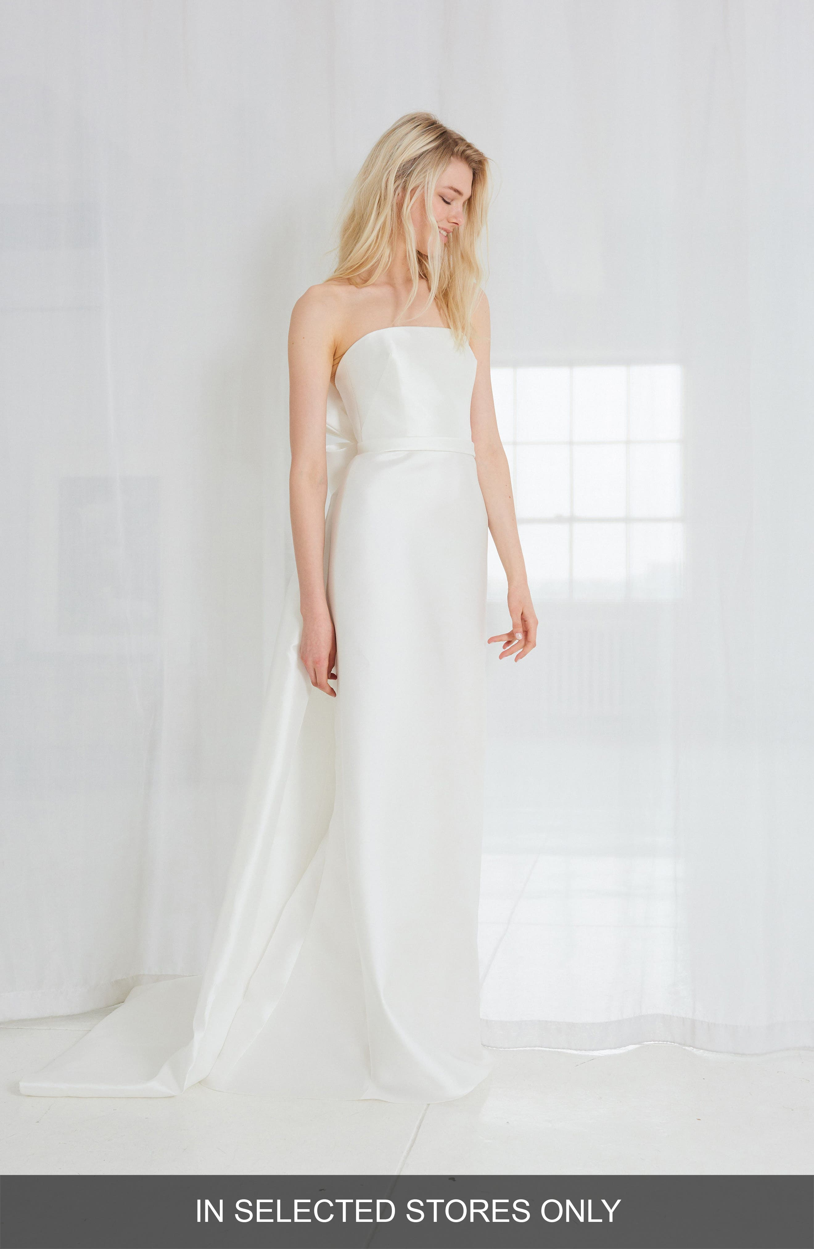 Elona Bow Back Strapless Column Gown,                         Main,                         color, Silk White