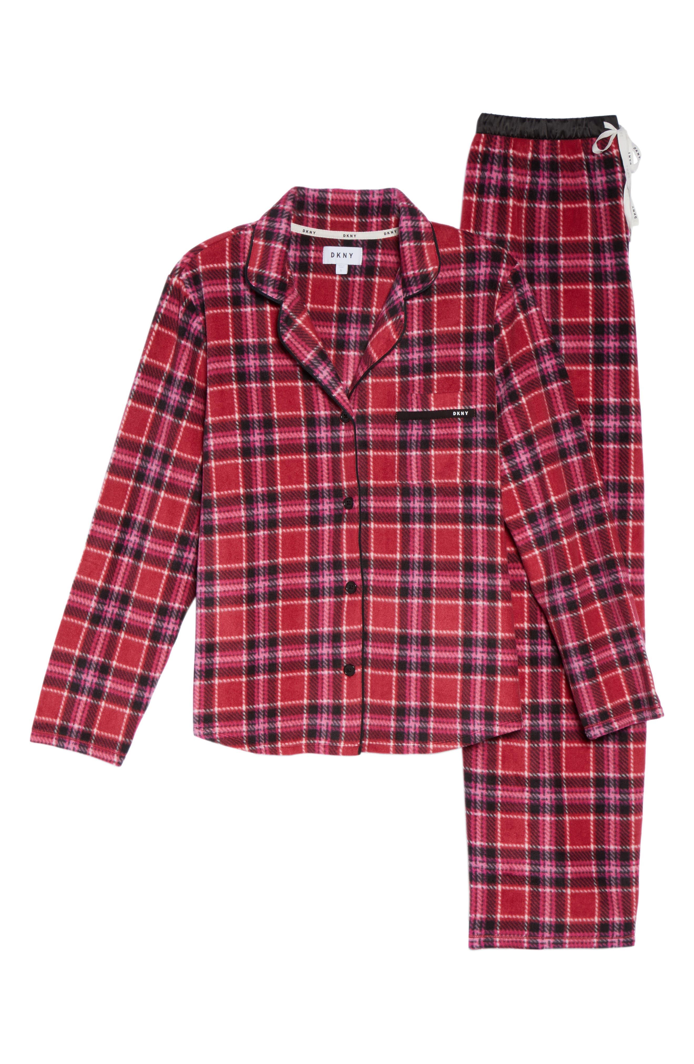 Stretch Fleece Long Pajamas,                             Alternate thumbnail 4, color,                             Red Plaid