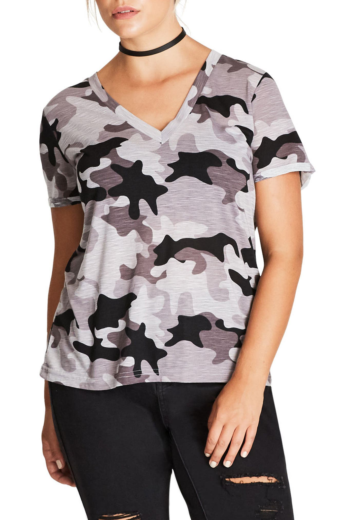 Alternate Image 1 Selected - City Chic Camouflage Print Top (Plus Size)