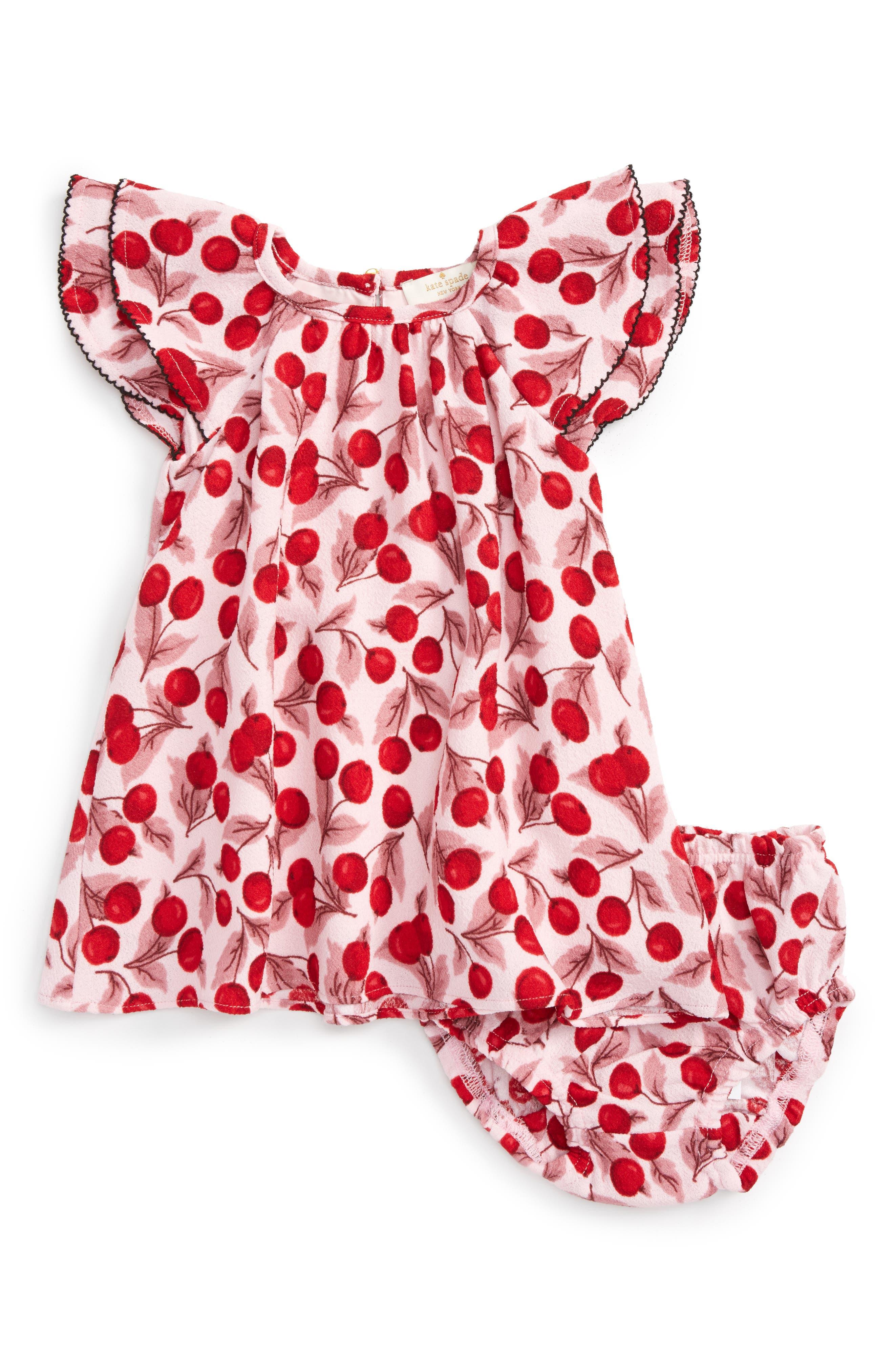 cherry print flutter sleeve dress,                             Main thumbnail 1, color,                             Mon Cheri