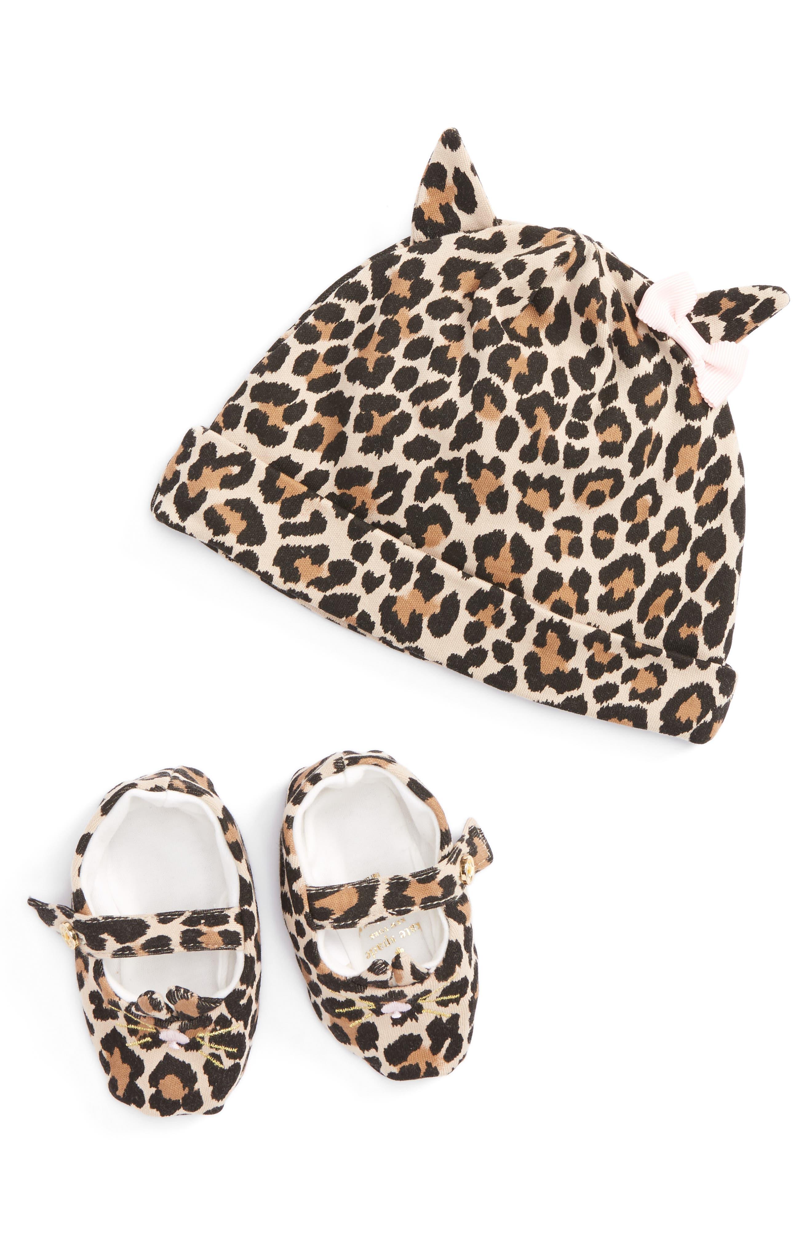 layette cap & shoe gift set,                         Main,                         color, Leopard