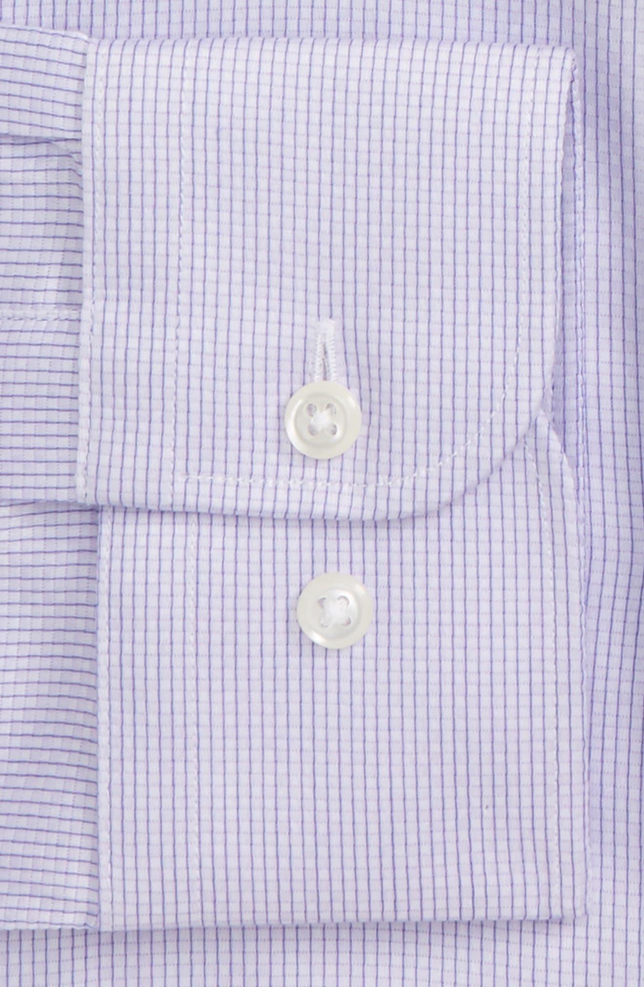 Trim Fit Stripe Dress Shirt,                             Alternate thumbnail 5, color,                             Purple Heirloom