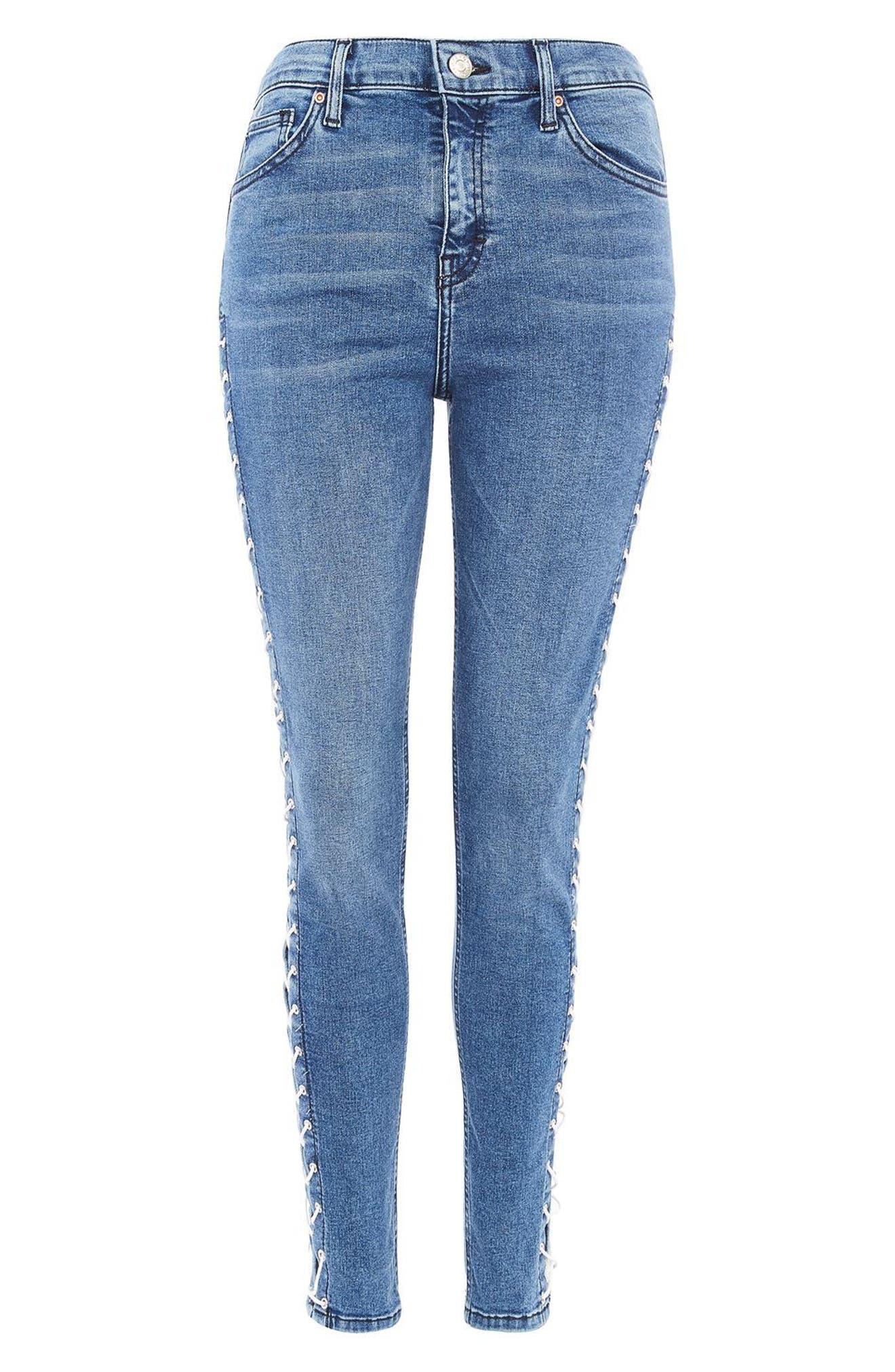 Alternate Image 4  - Topshop Jamie Side Lace-Up Ankle Skinny Jeans