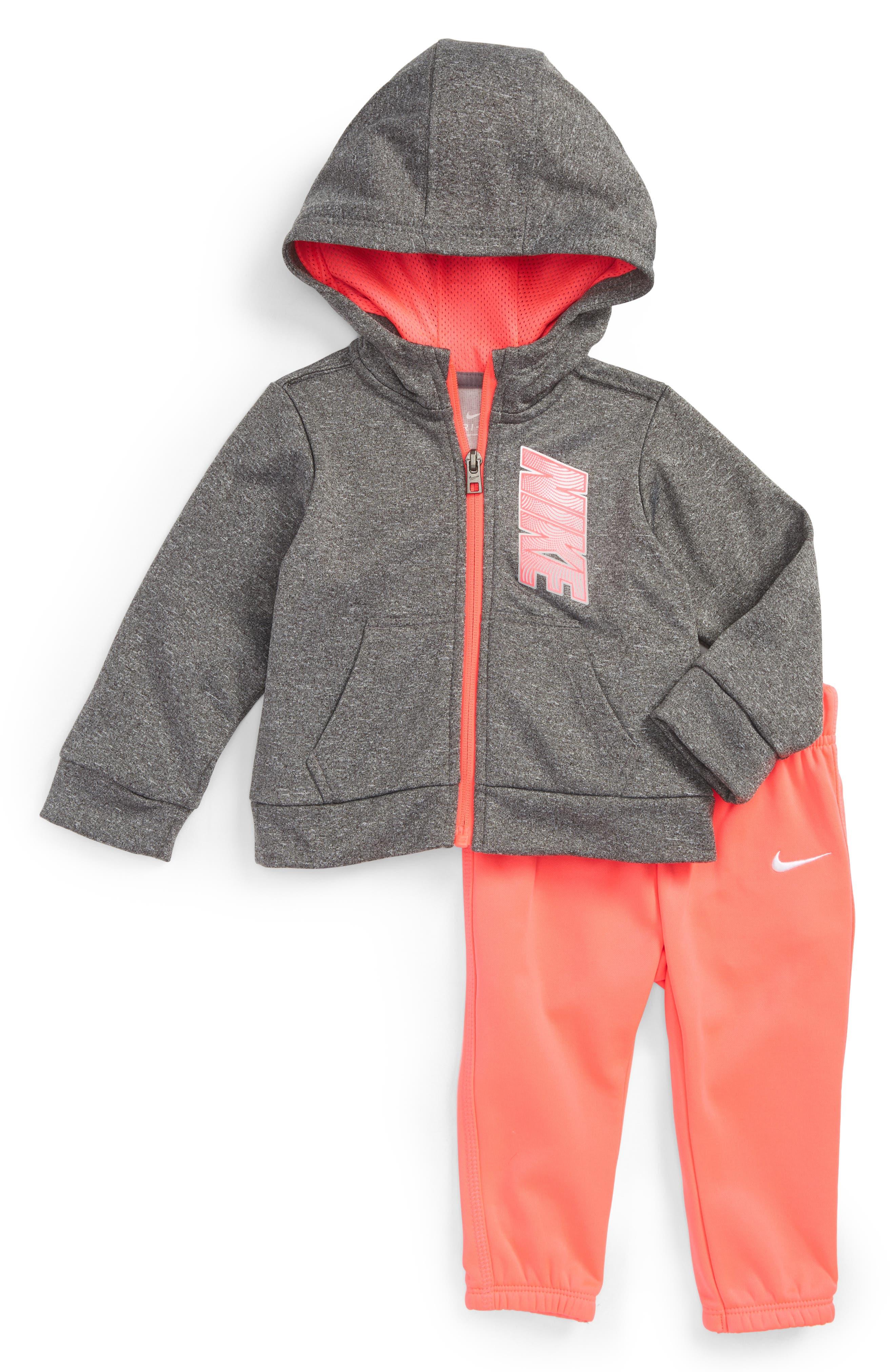 Alternate Image 1 Selected - Nike Therma-FIT Fleece Hoodie & Pants Set (Baby Girls)
