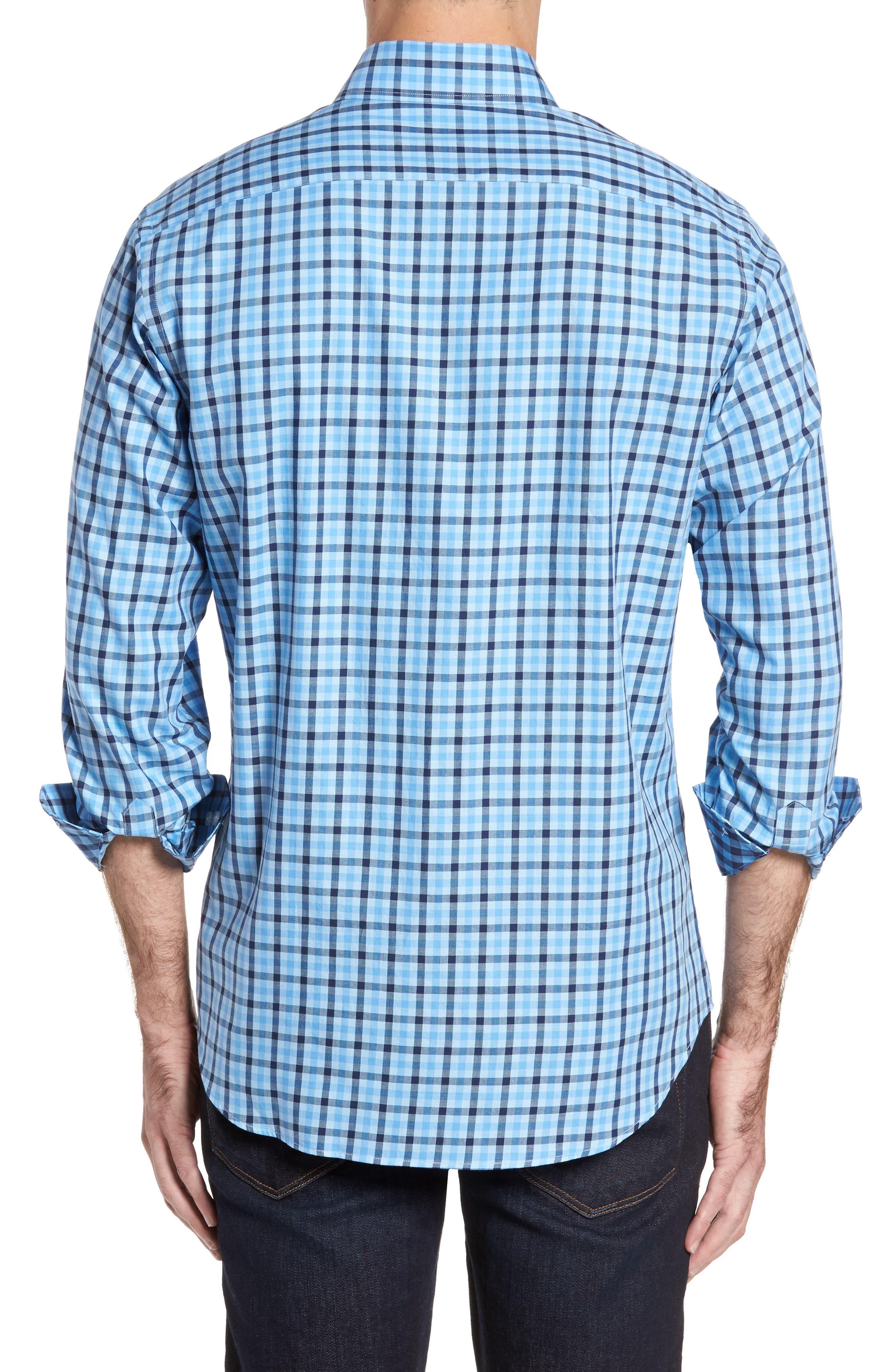 Bridge City Gingham Twill Sport Shirt,                             Alternate thumbnail 2, color,                             Blue