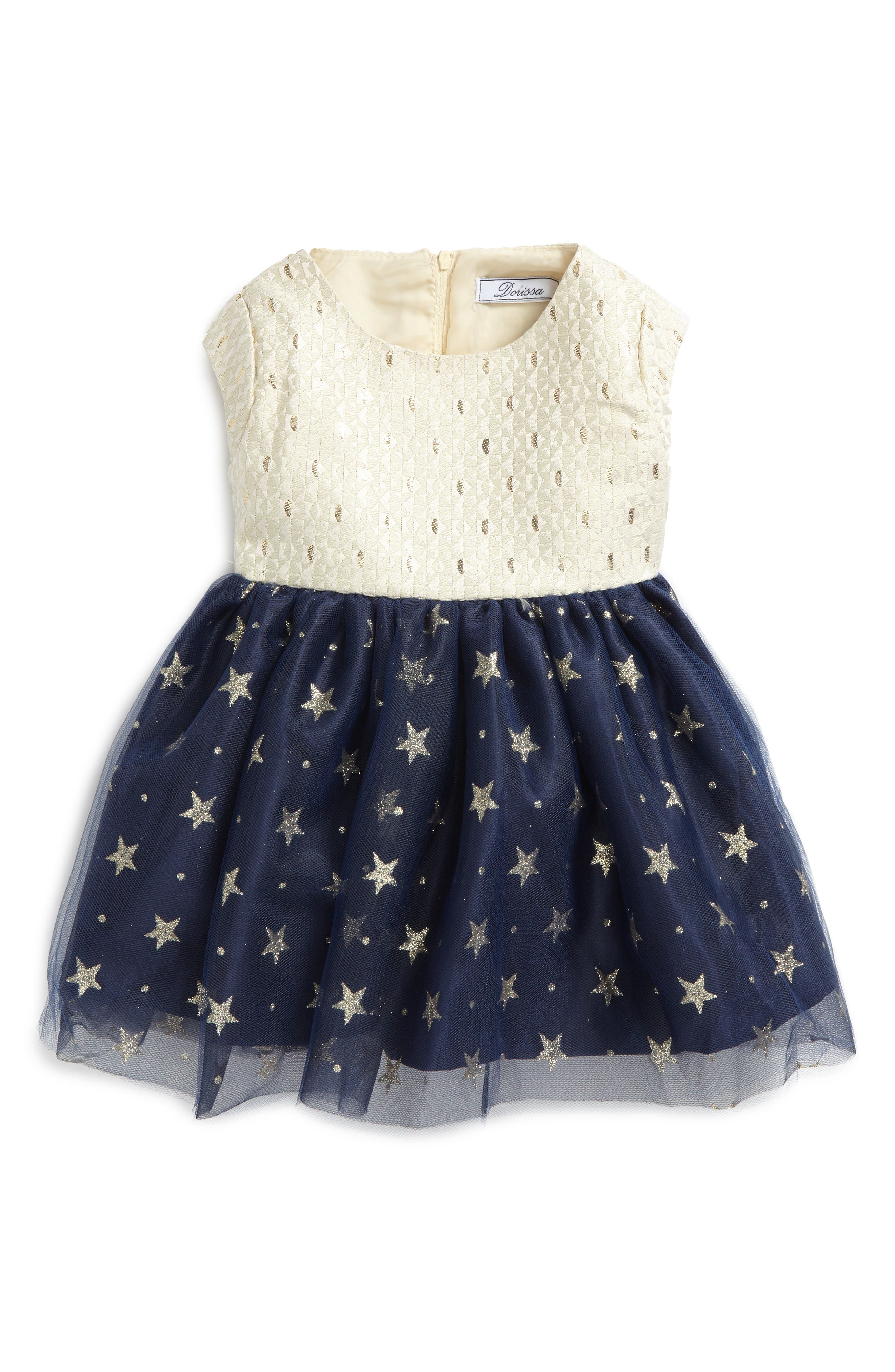 Kerry Fit & Flare Dress,                             Main thumbnail 1, color,                             Gold/ Navy