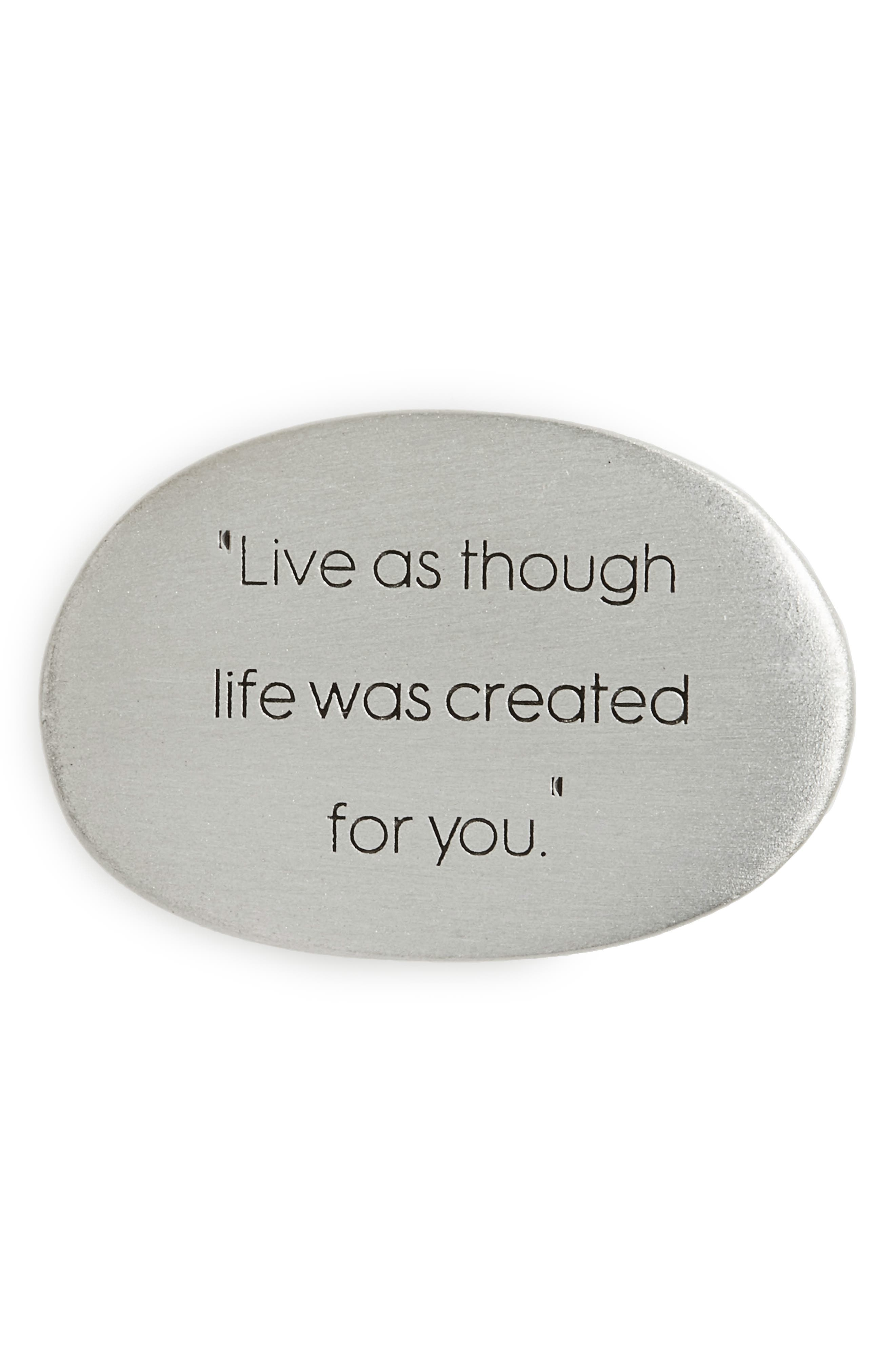 Legacy Live as Though Pocket Stone,                             Main thumbnail 1, color,                             Silver