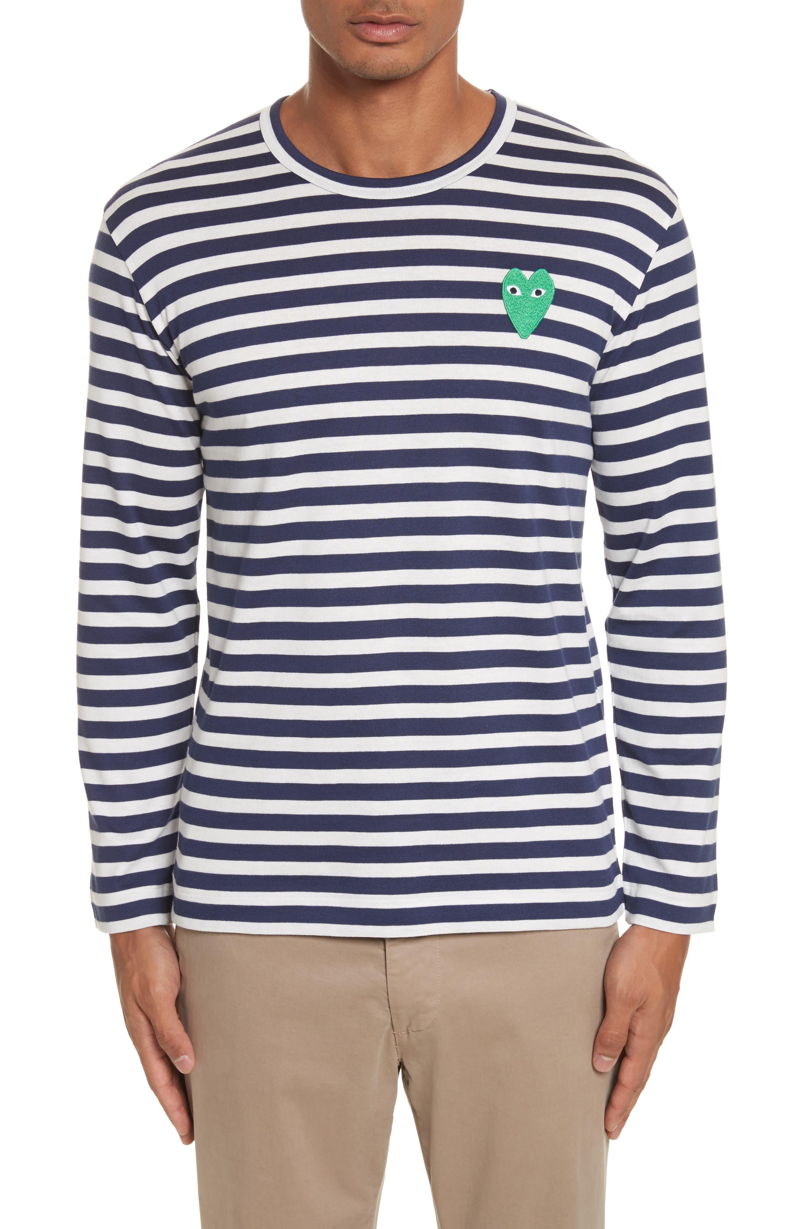 Comme des Garçons PLAY Stripe Long Sleeve T-Shirt,                         Main,                         color, Navy/ White
