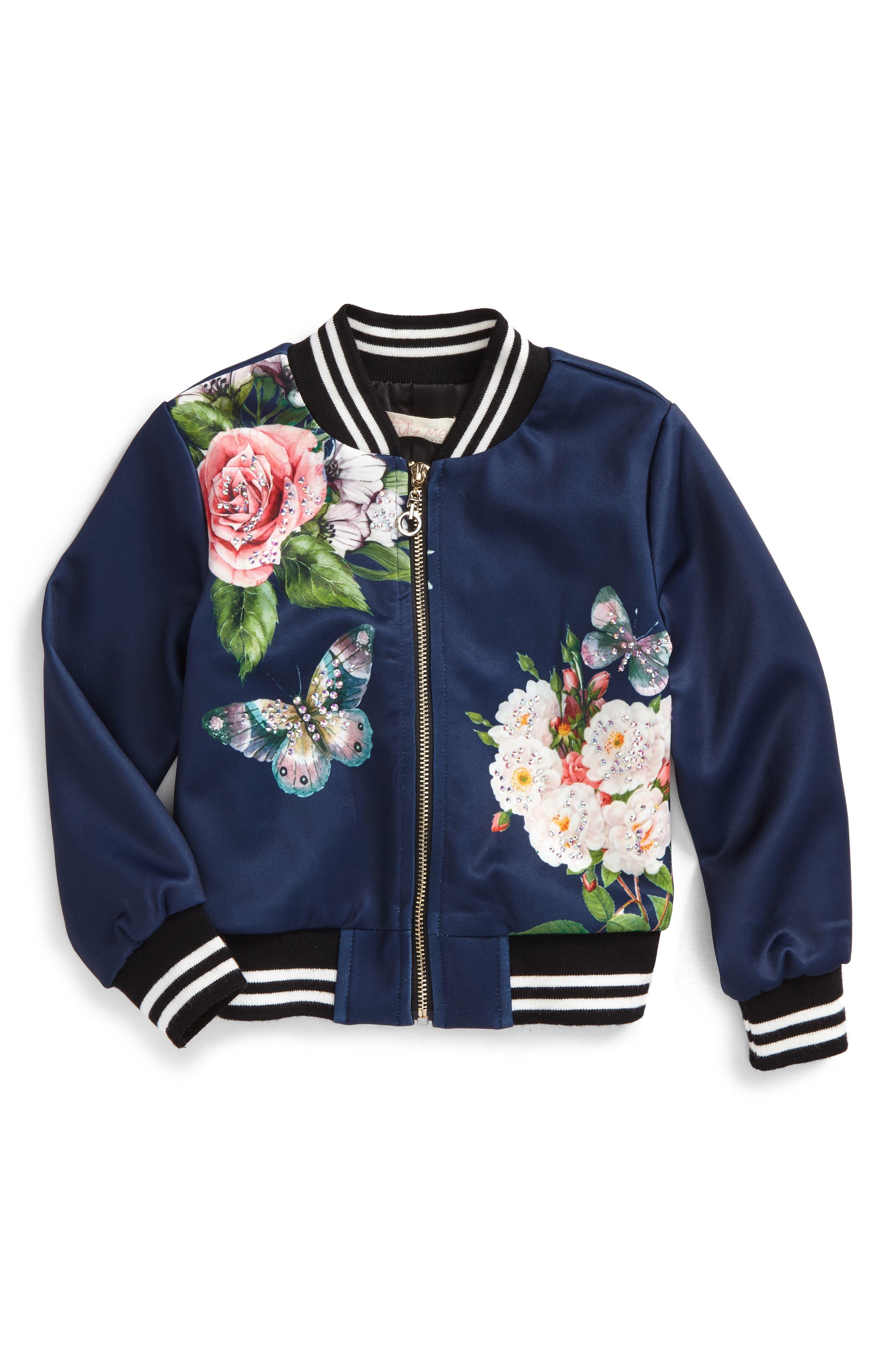 Embellished Floral Bomber Jacket,                         Main,                         color, Navy