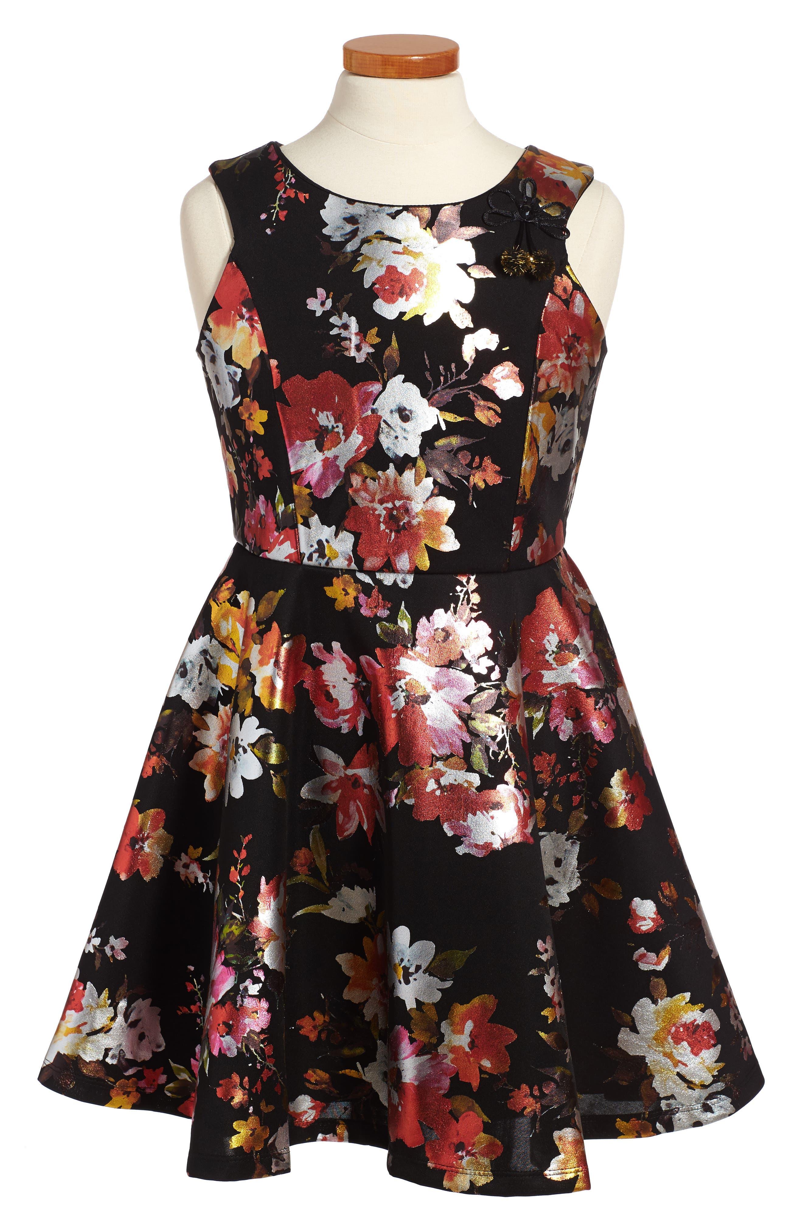 Metallic Floral Fit & Flare Dress,                         Main,                         color, Black
