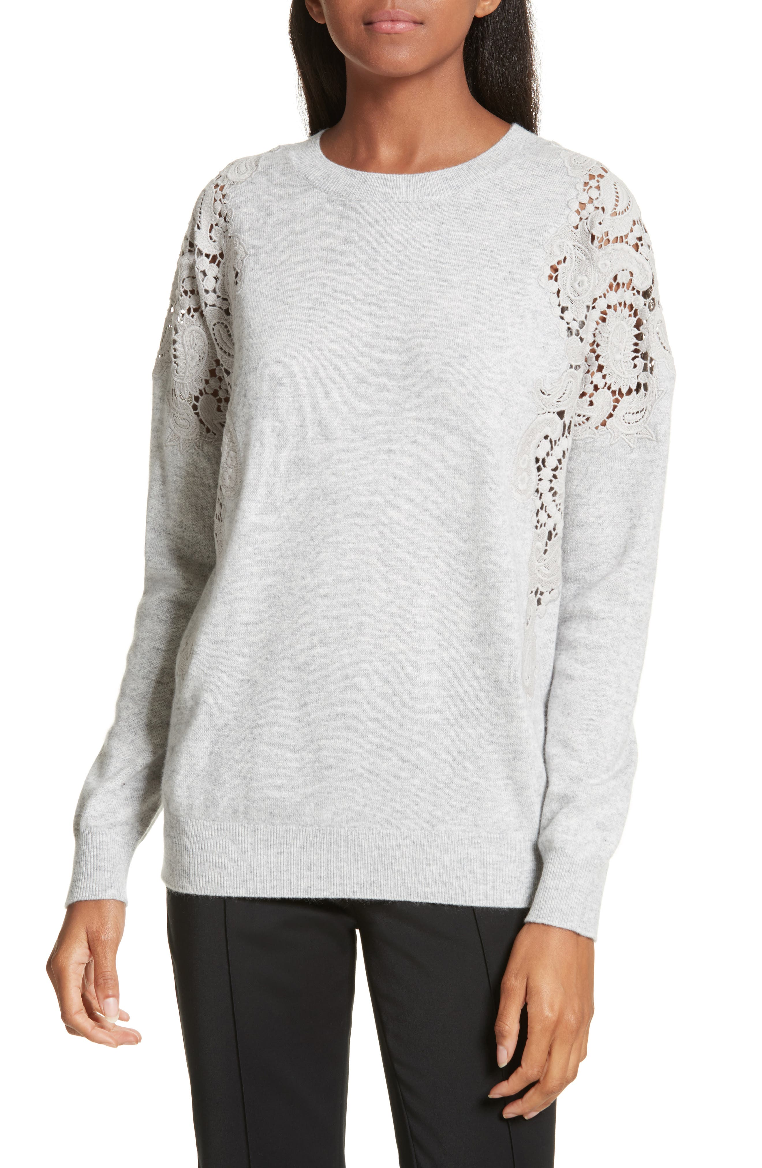 Tae Lace Shoulder Sweater,                         Main,                         color, Mid Grey