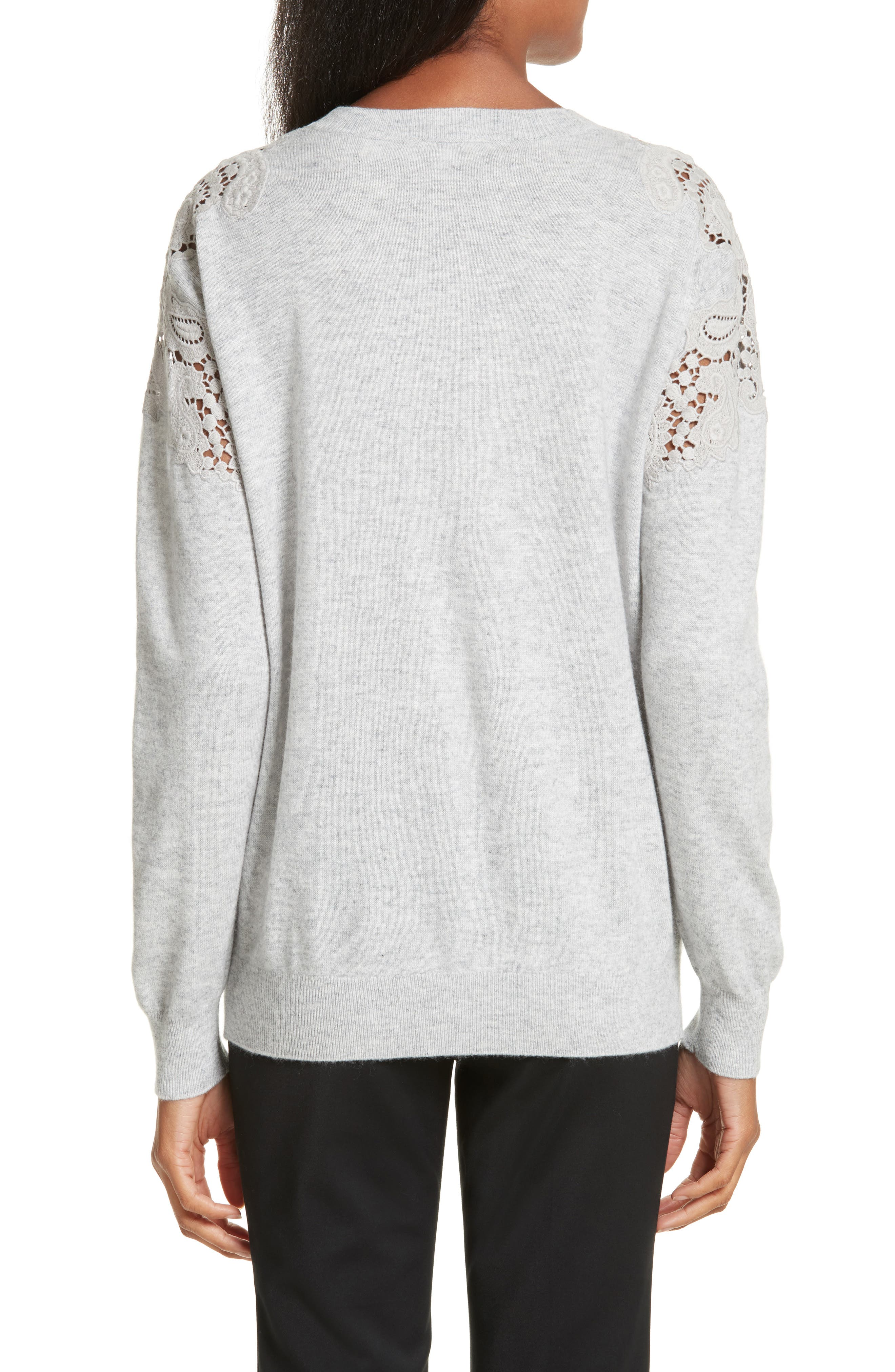Tae Lace Shoulder Sweater,                             Alternate thumbnail 2, color,                             Mid Grey