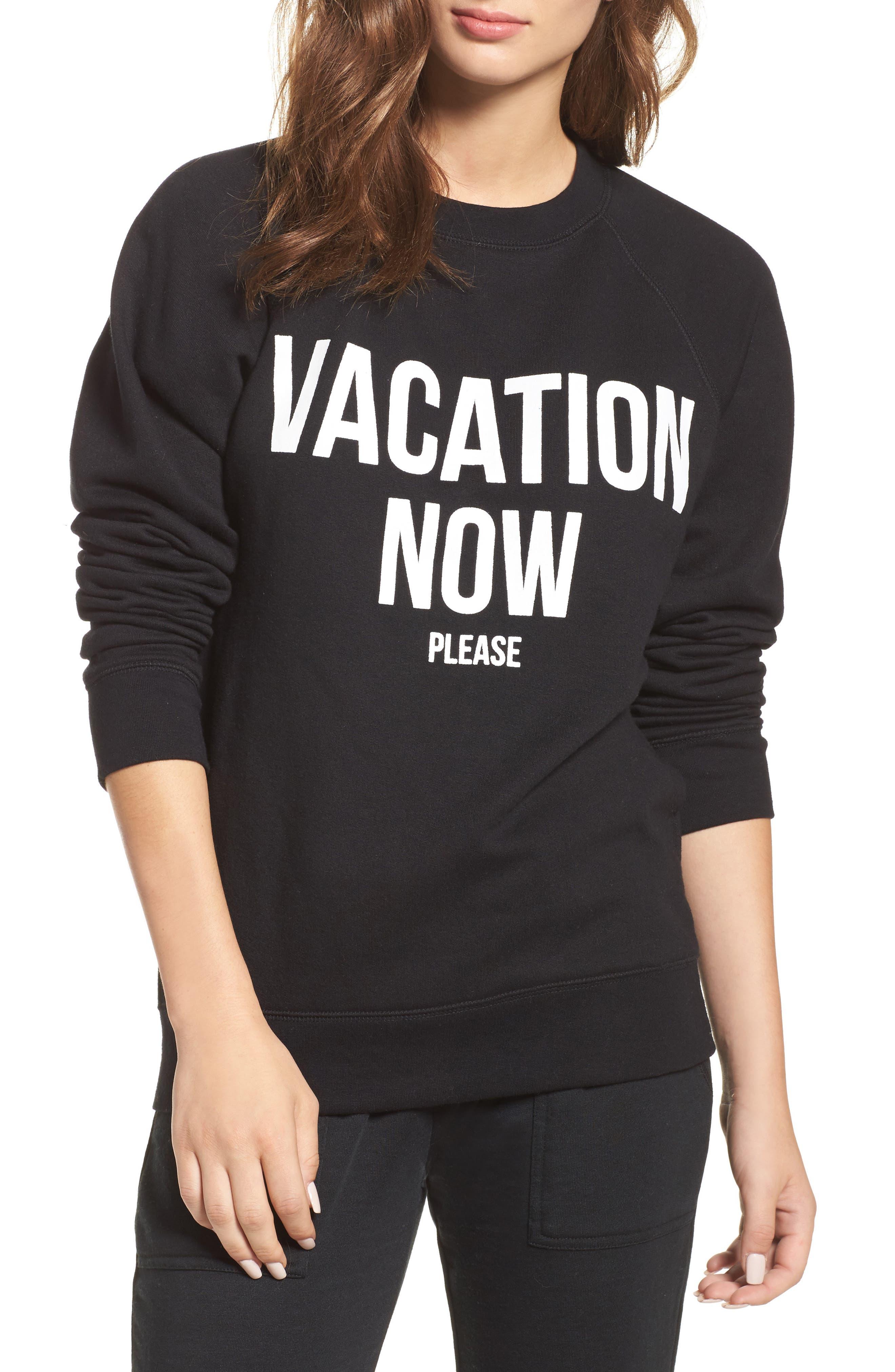 Vacation Now Sweatshirt,                             Main thumbnail 1, color,                             Black