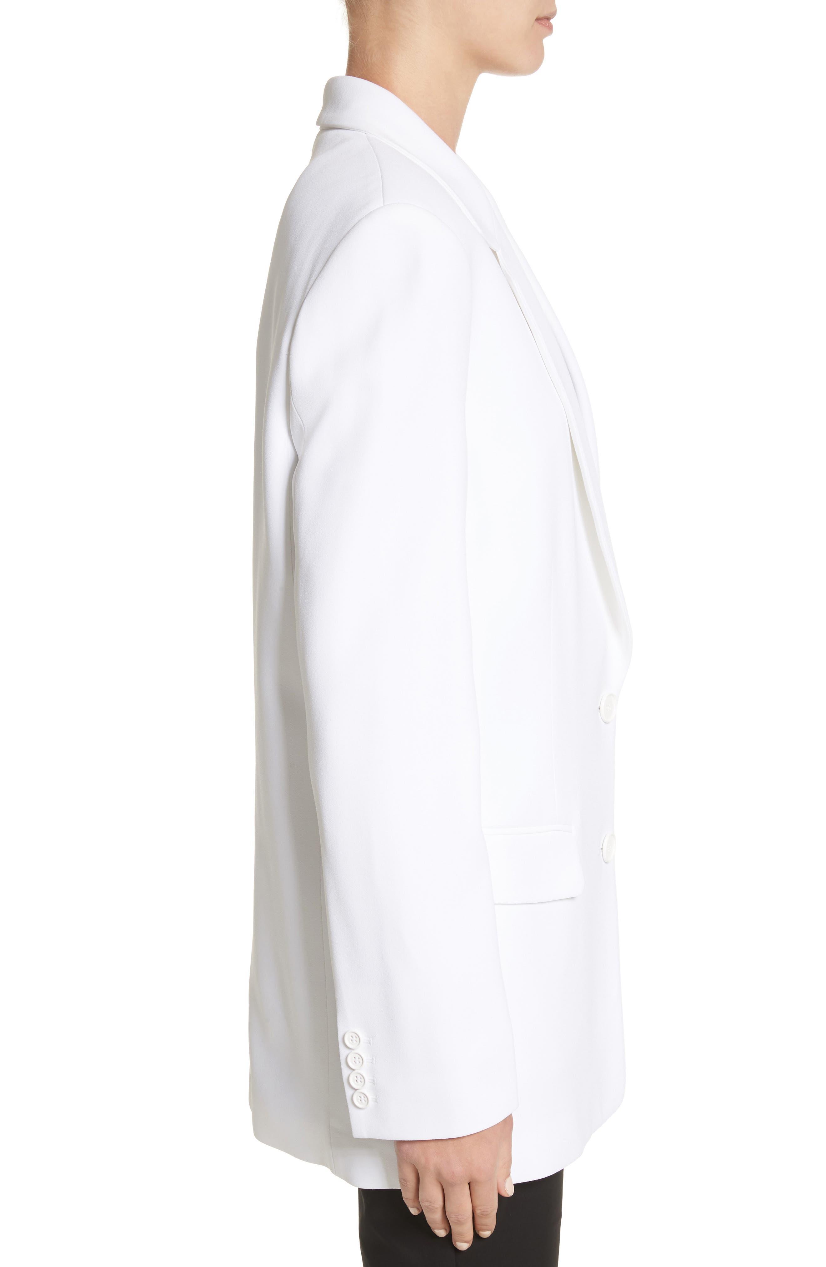 Double Crepe Sable Jacket,                             Alternate thumbnail 3, color,                             Optic White