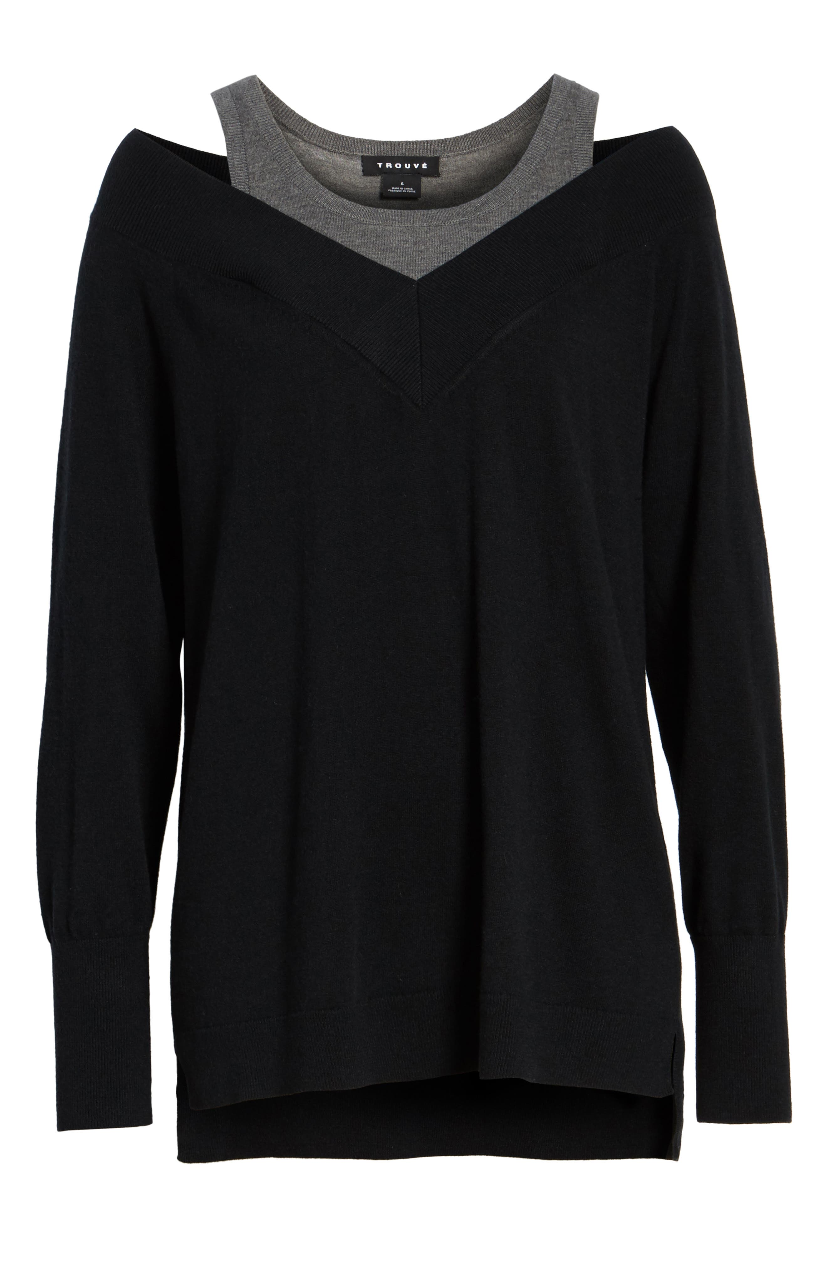 Spliced Tank Sweater,                             Alternate thumbnail 6, color,                             Black Combo