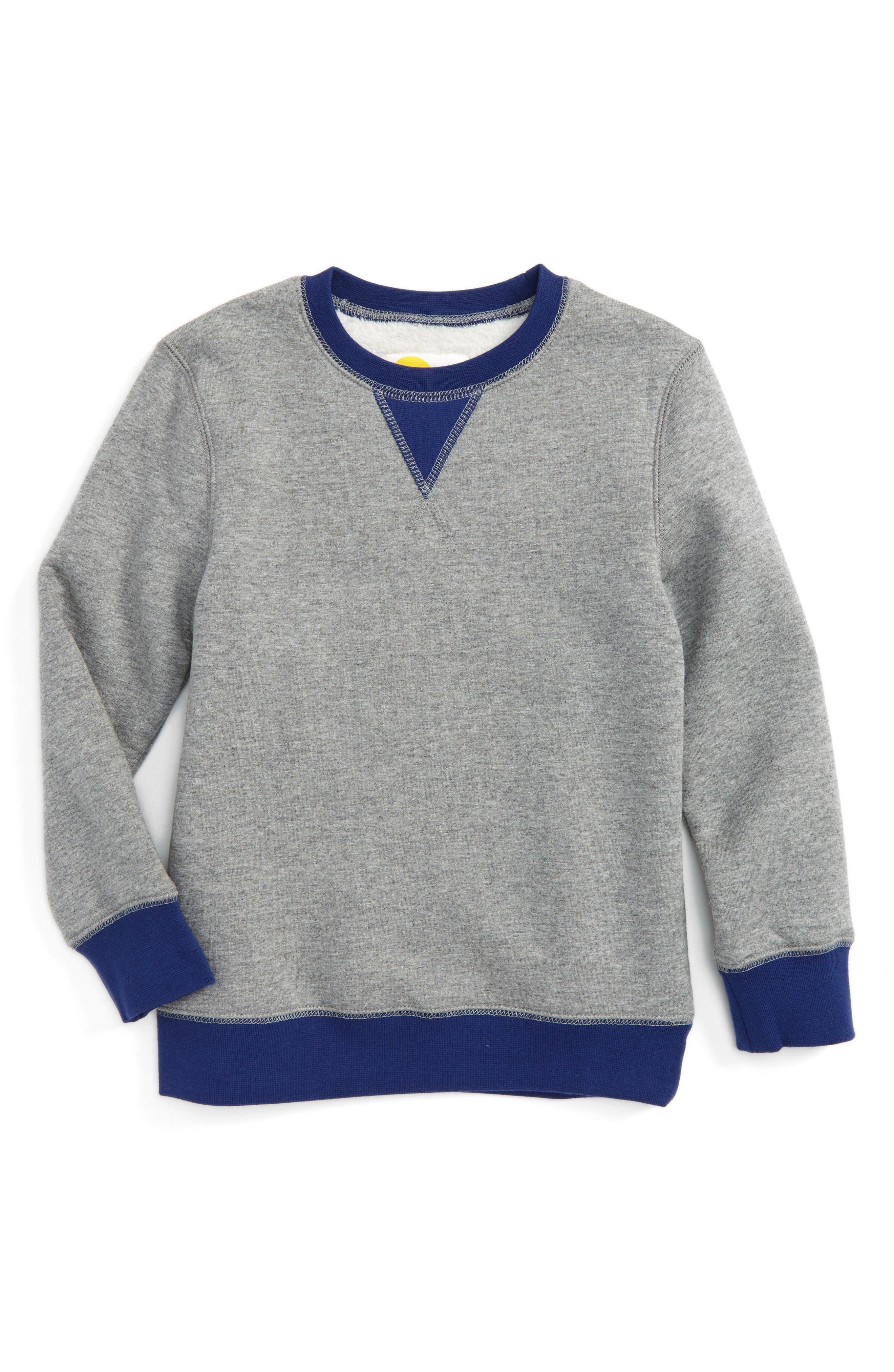 Main Image - Mini Boden Shaggy Lined Sweatshirt (Little Boys & Big Boys)