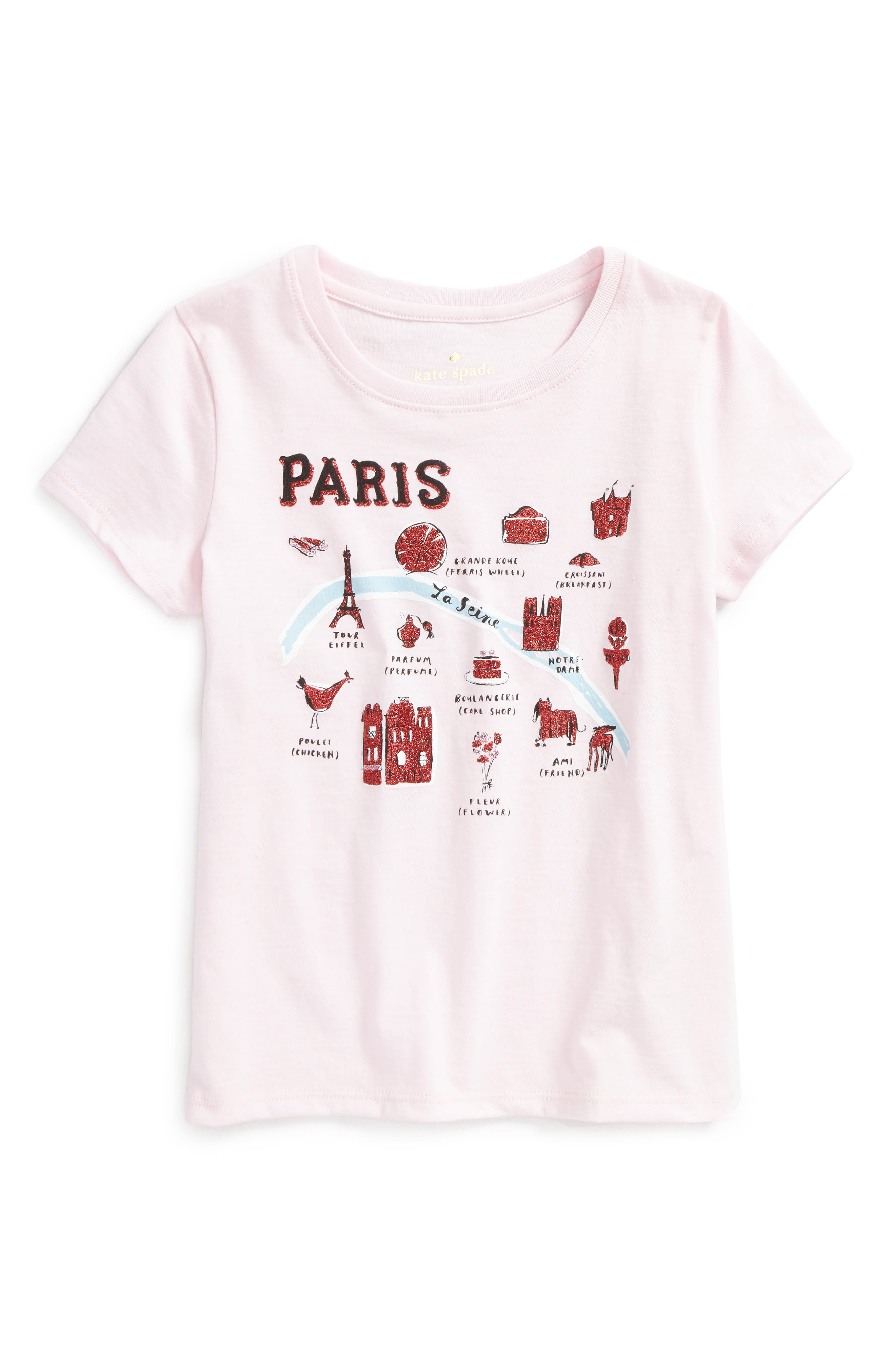 Alternate Image 1 Selected - kate spade new york paris graphic tee (Toddler Girls & Little Girls)