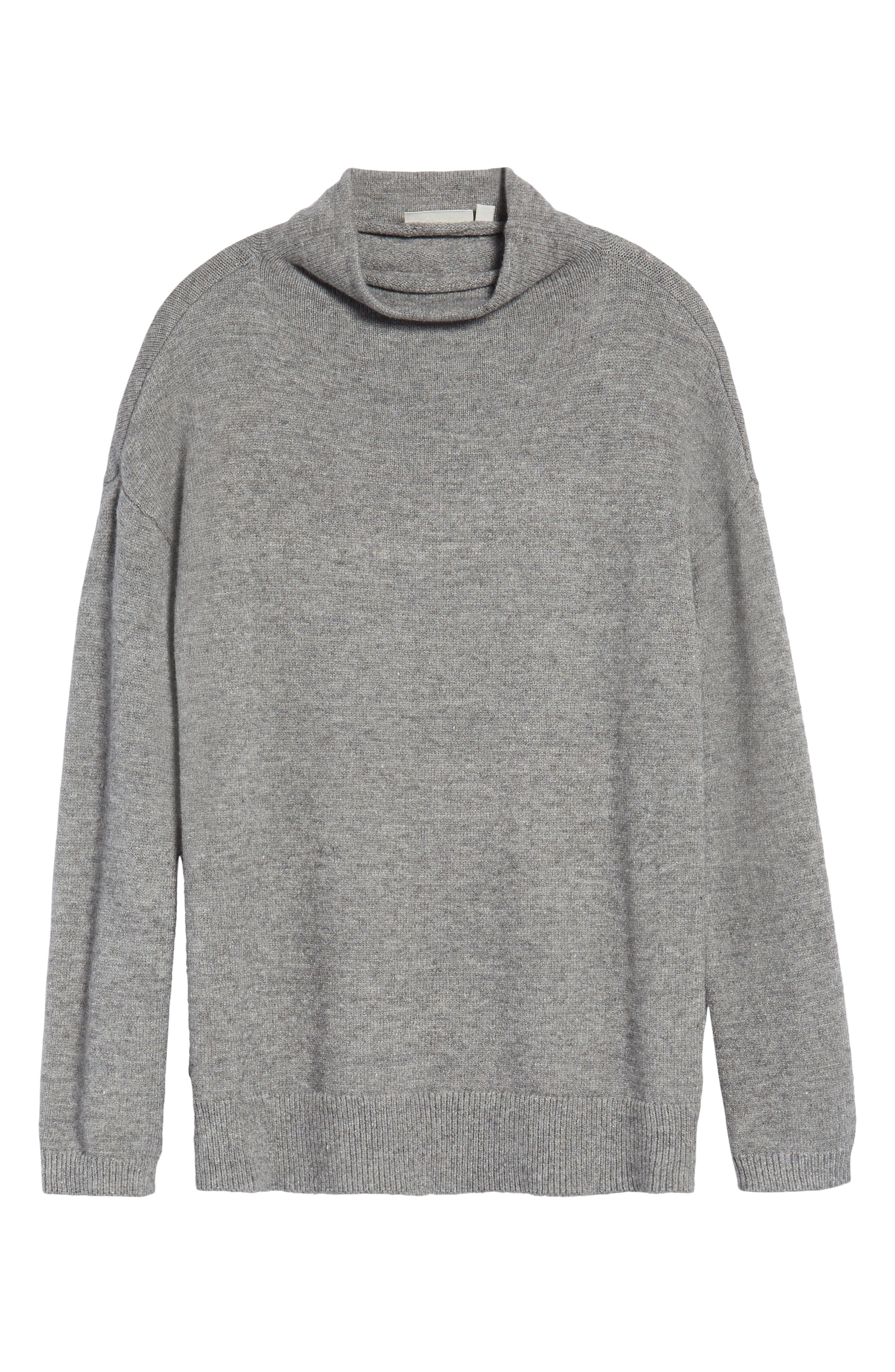 RD Style Funnel Neck Sweater,                             Alternate thumbnail 6, color,                             Grey