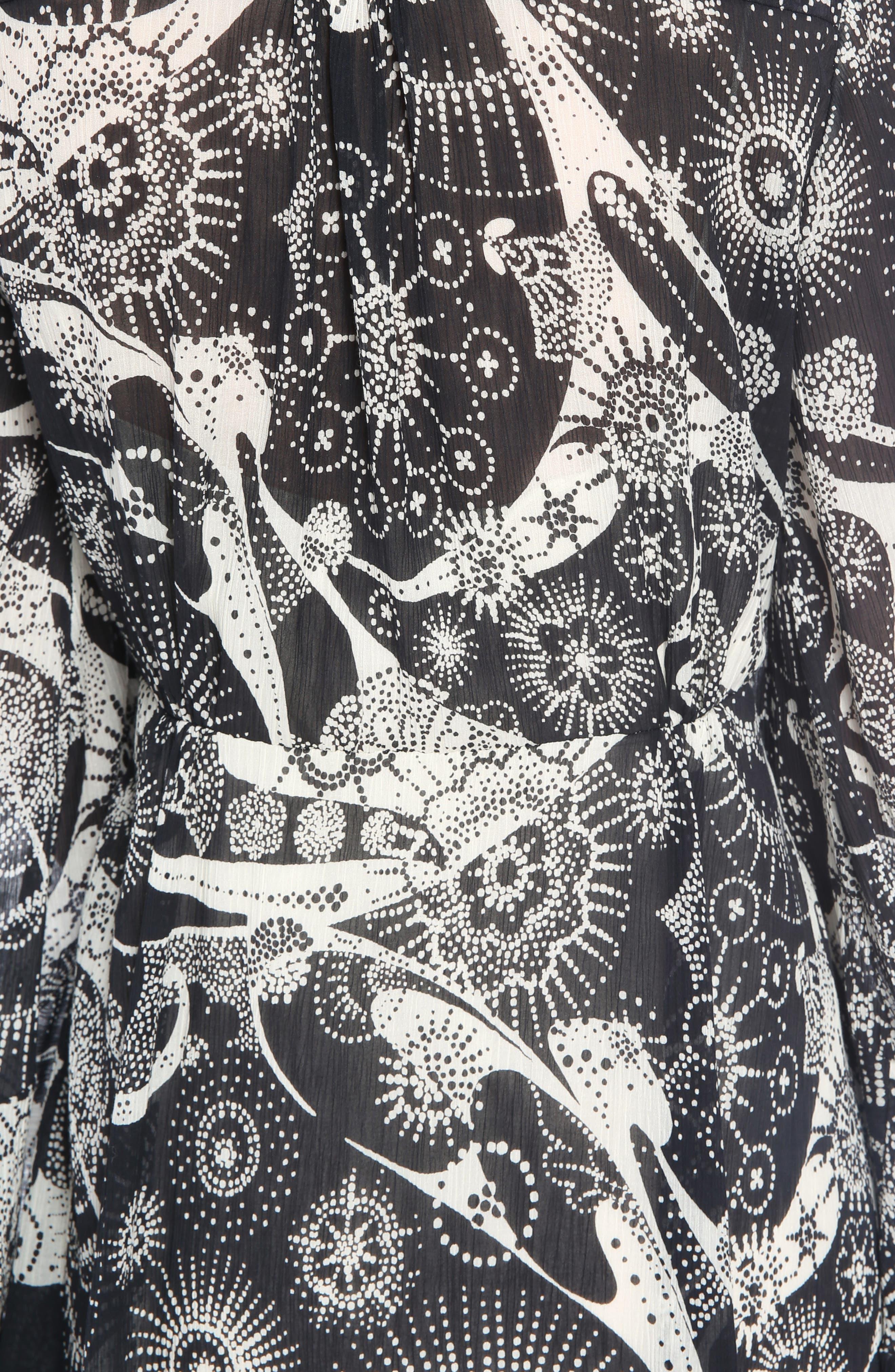 Dotty Ruffle Trim Crépon Dress with Scarf,                             Alternate thumbnail 5, color,                             Black-White