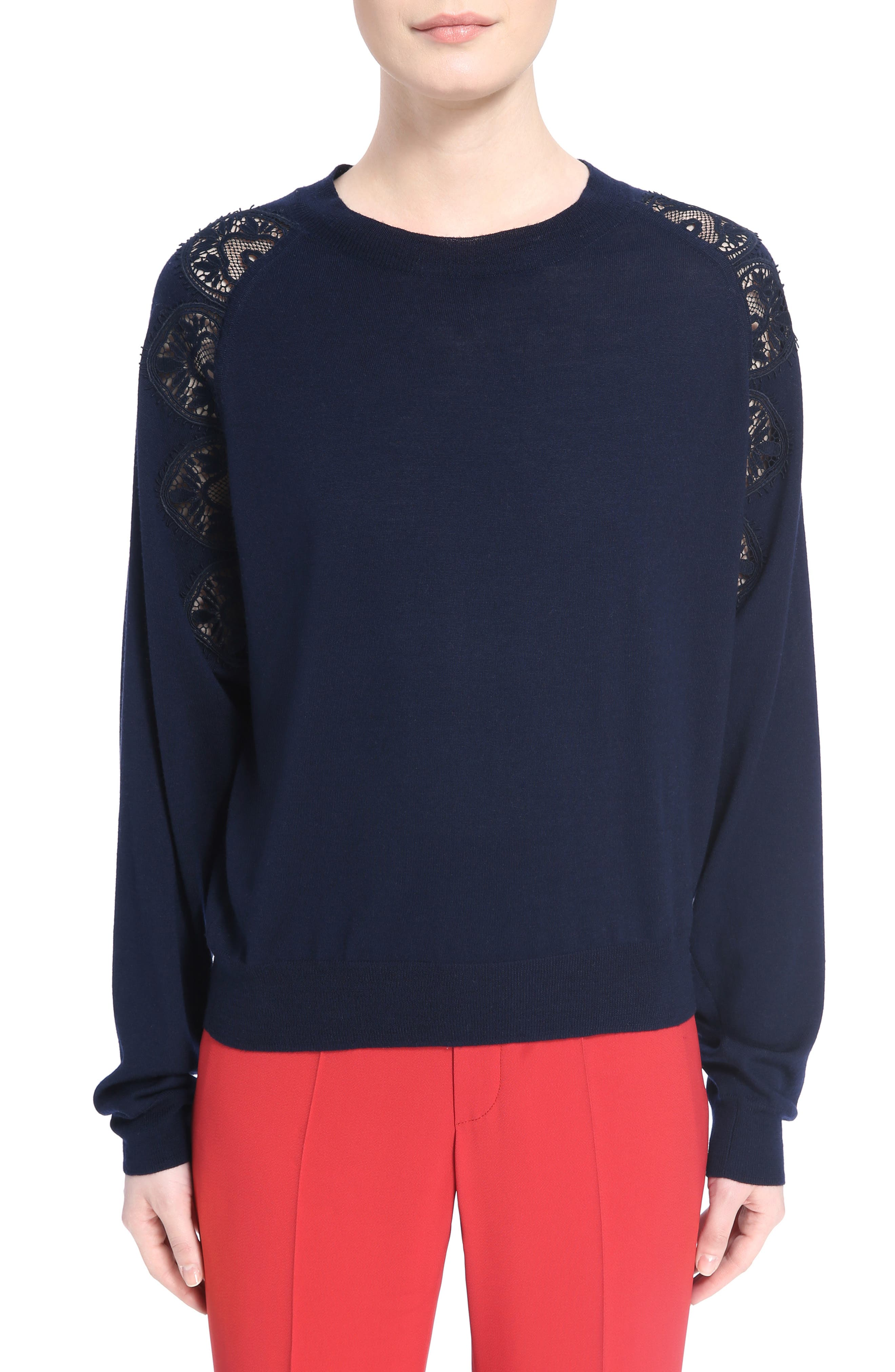 Lace Inset Sweater,                             Main thumbnail 1, color,                             Iconic Navy