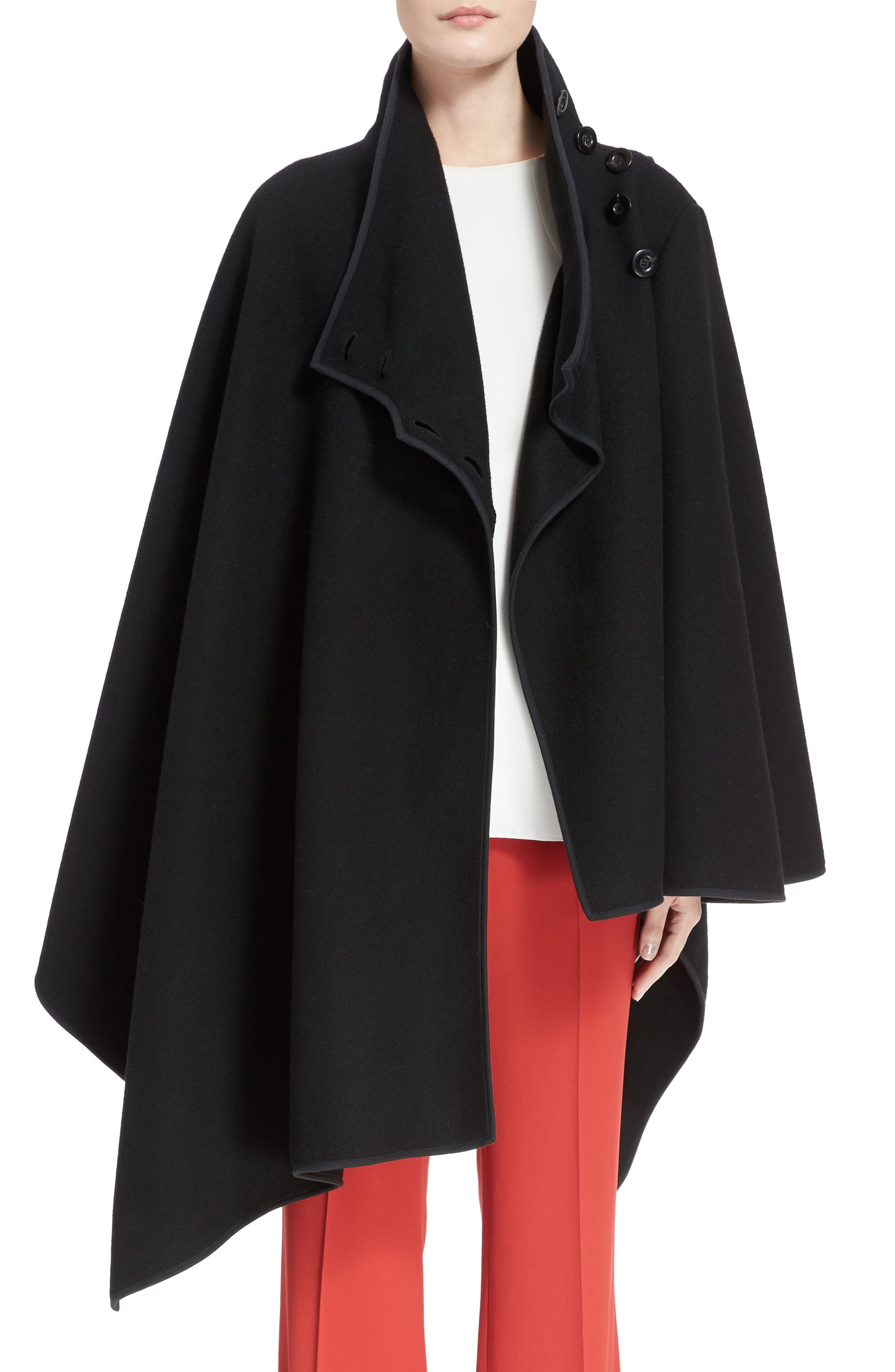 Virgin Wool Blend Poncho,                         Main,                         color, Black