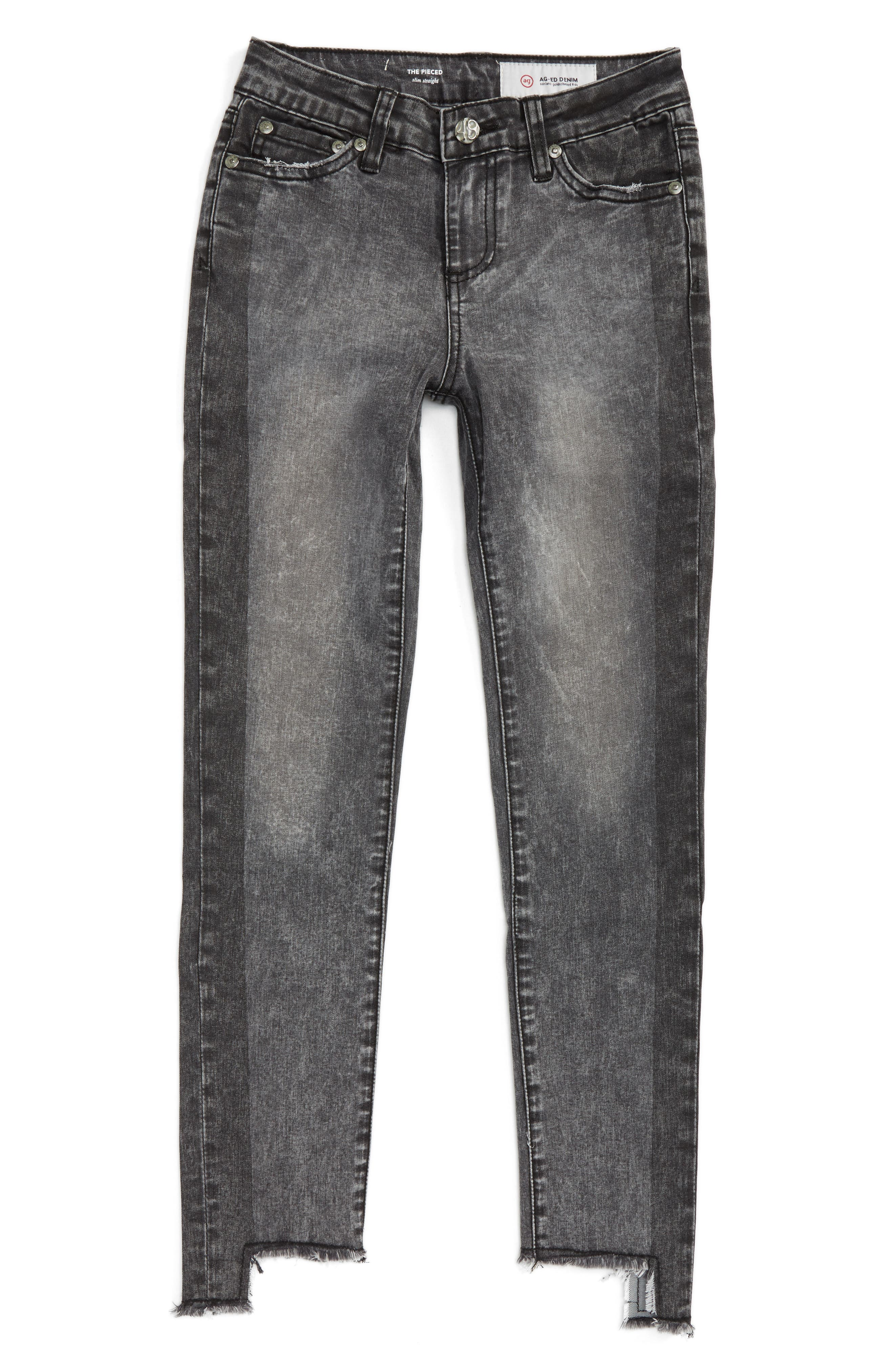 The Pieced Slim Straight Leg Jeans,                             Main thumbnail 1, color,                             Iron Grey