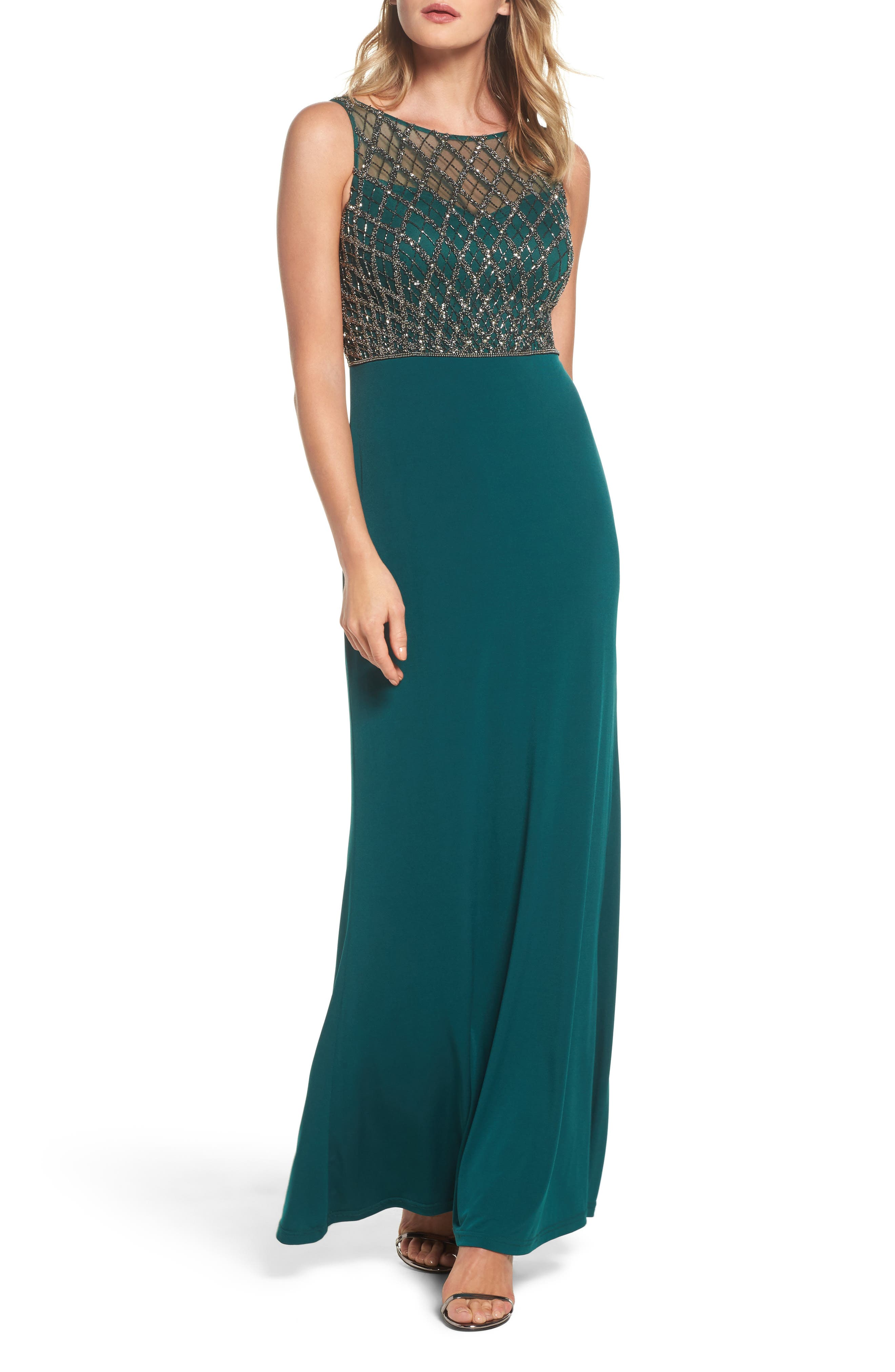 Beaded Bodice Column Gown,                         Main,                         color, Hunter