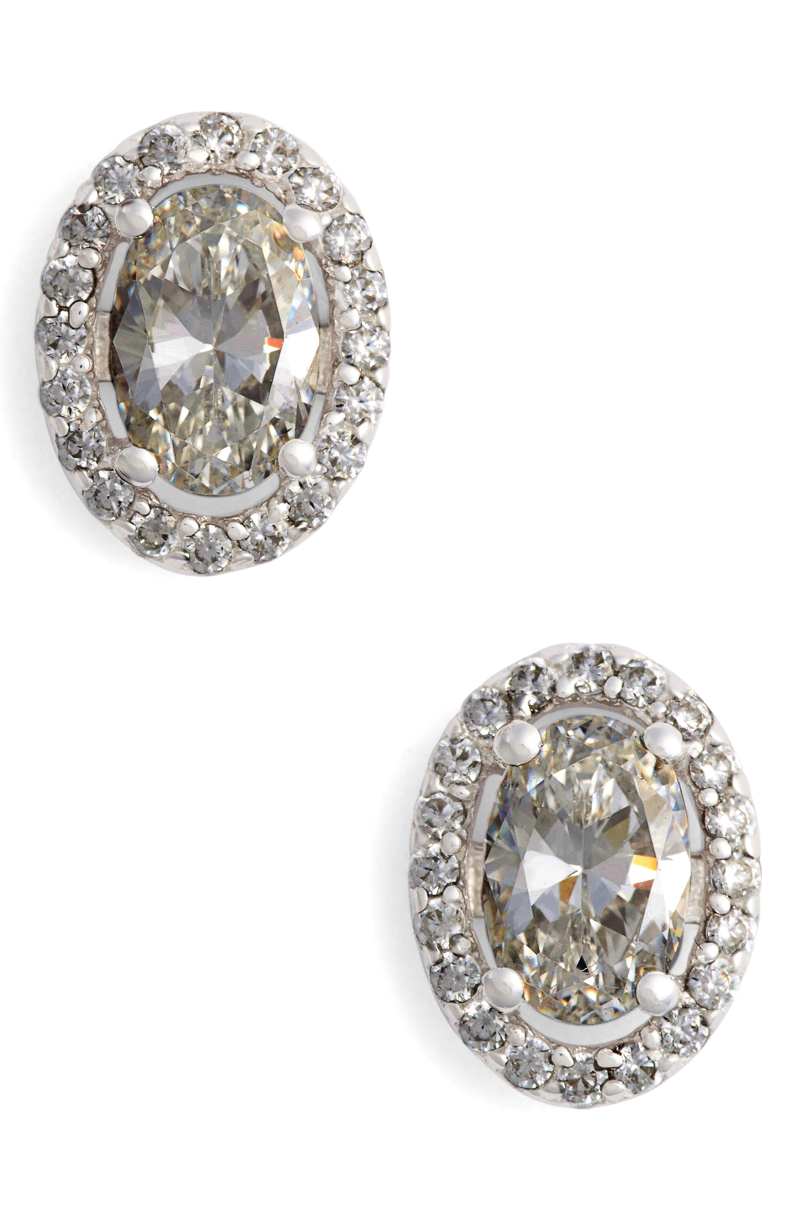 Simulated Diamond Stud Earrings,                             Main thumbnail 1, color,                             Silver/ Clear