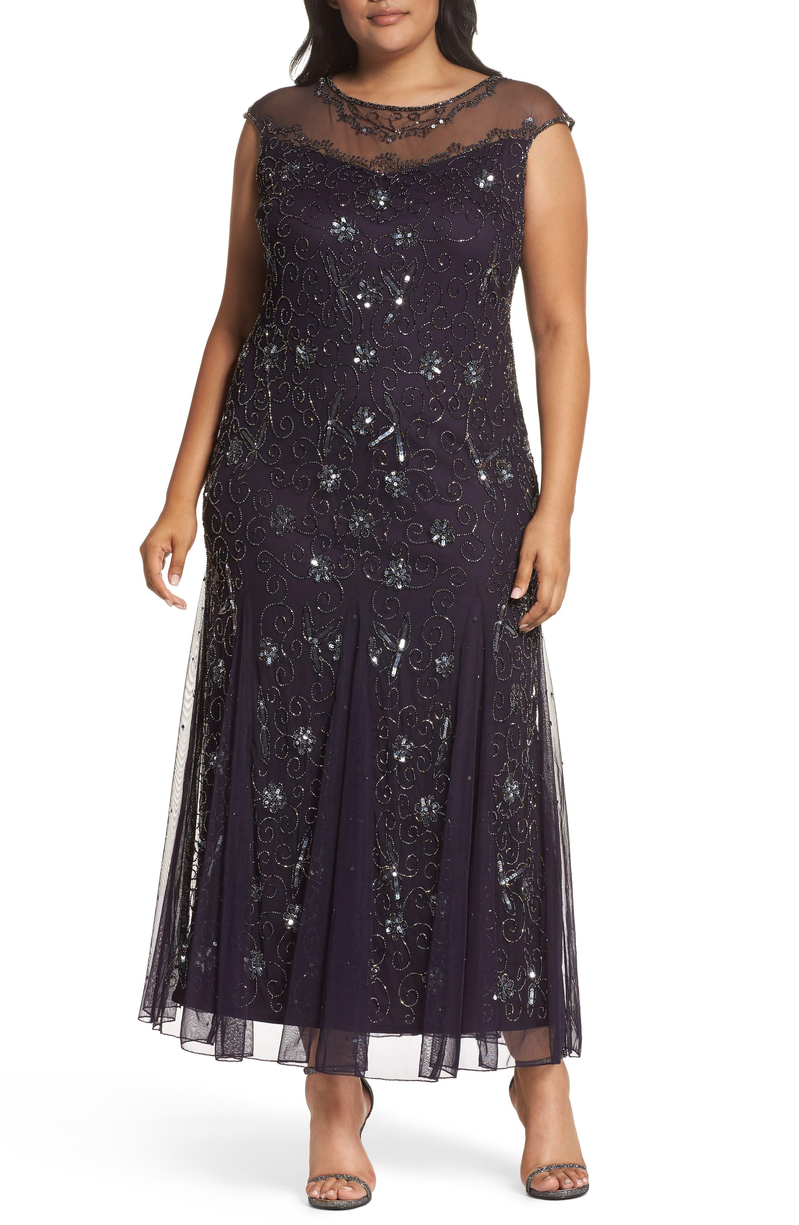 Main Image - Pisarro Nights Embellished Mesh Godet Gown (Plus Size)