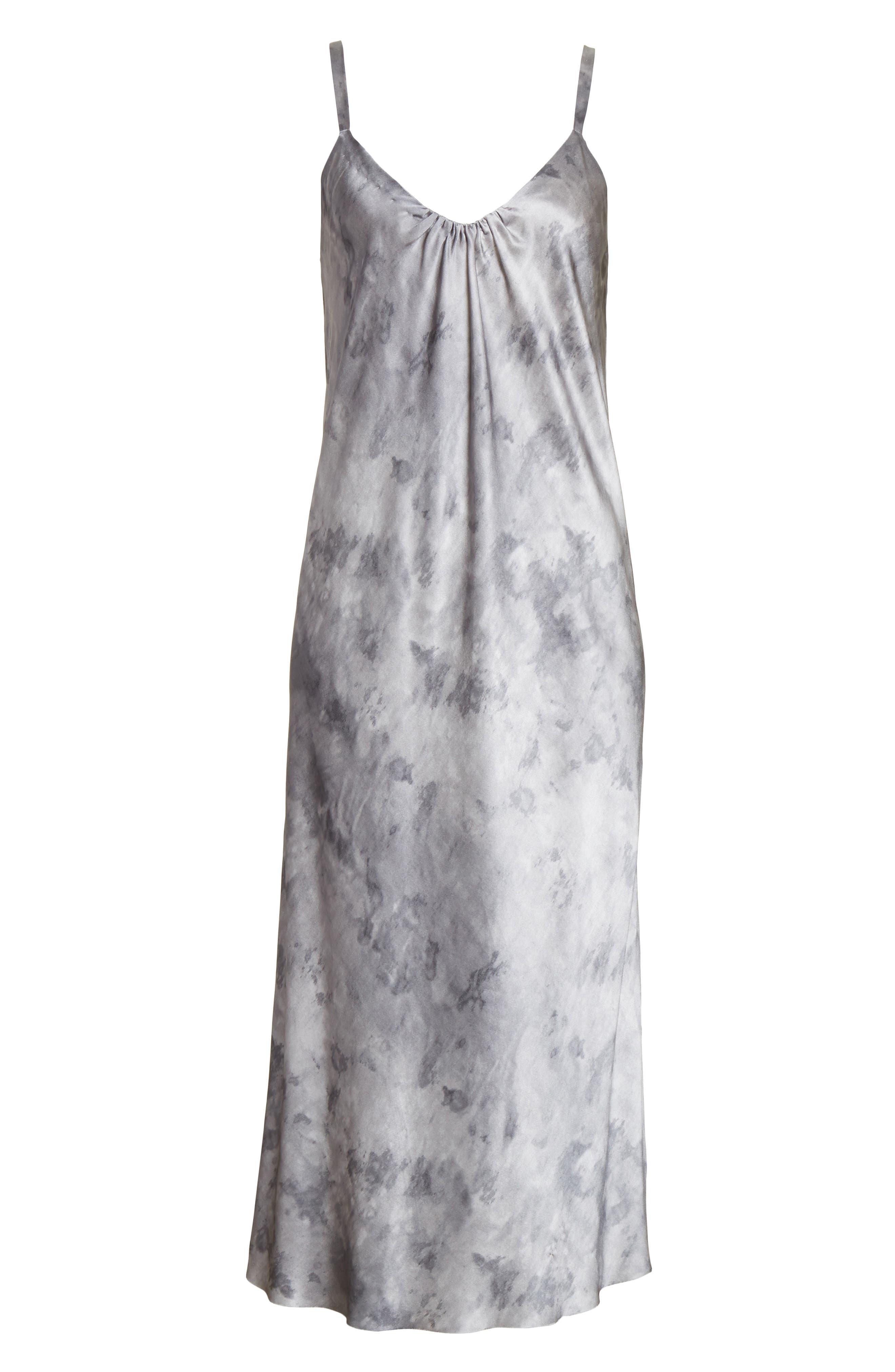 Watercolor Marble Silk Midi Dress,                             Alternate thumbnail 6, color,                             Dark Smoke