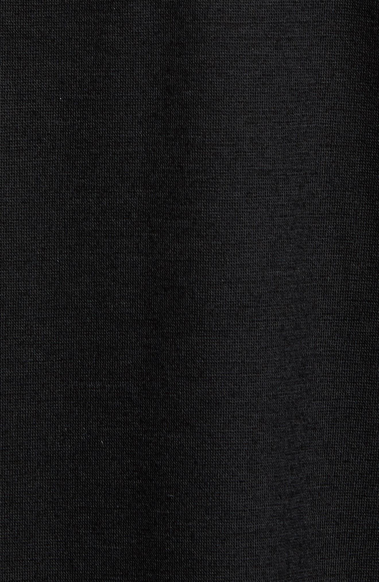 Mock Neck Thumbhole Wool T-Shirt,                             Alternate thumbnail 5, color,                             Black