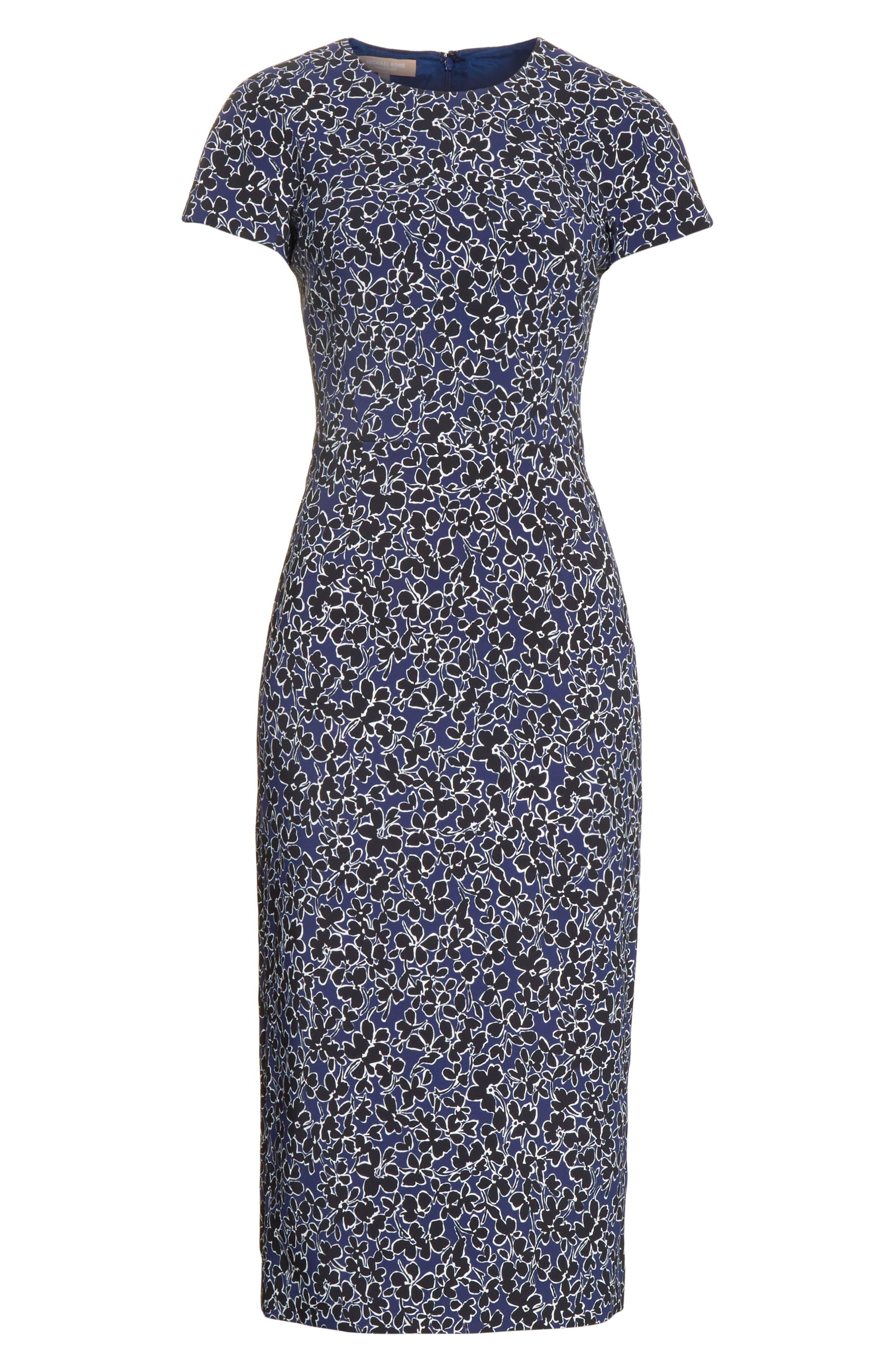 Floral T-Shirt Sheath Dress,                             Alternate thumbnail 6, color,                             Sapphire