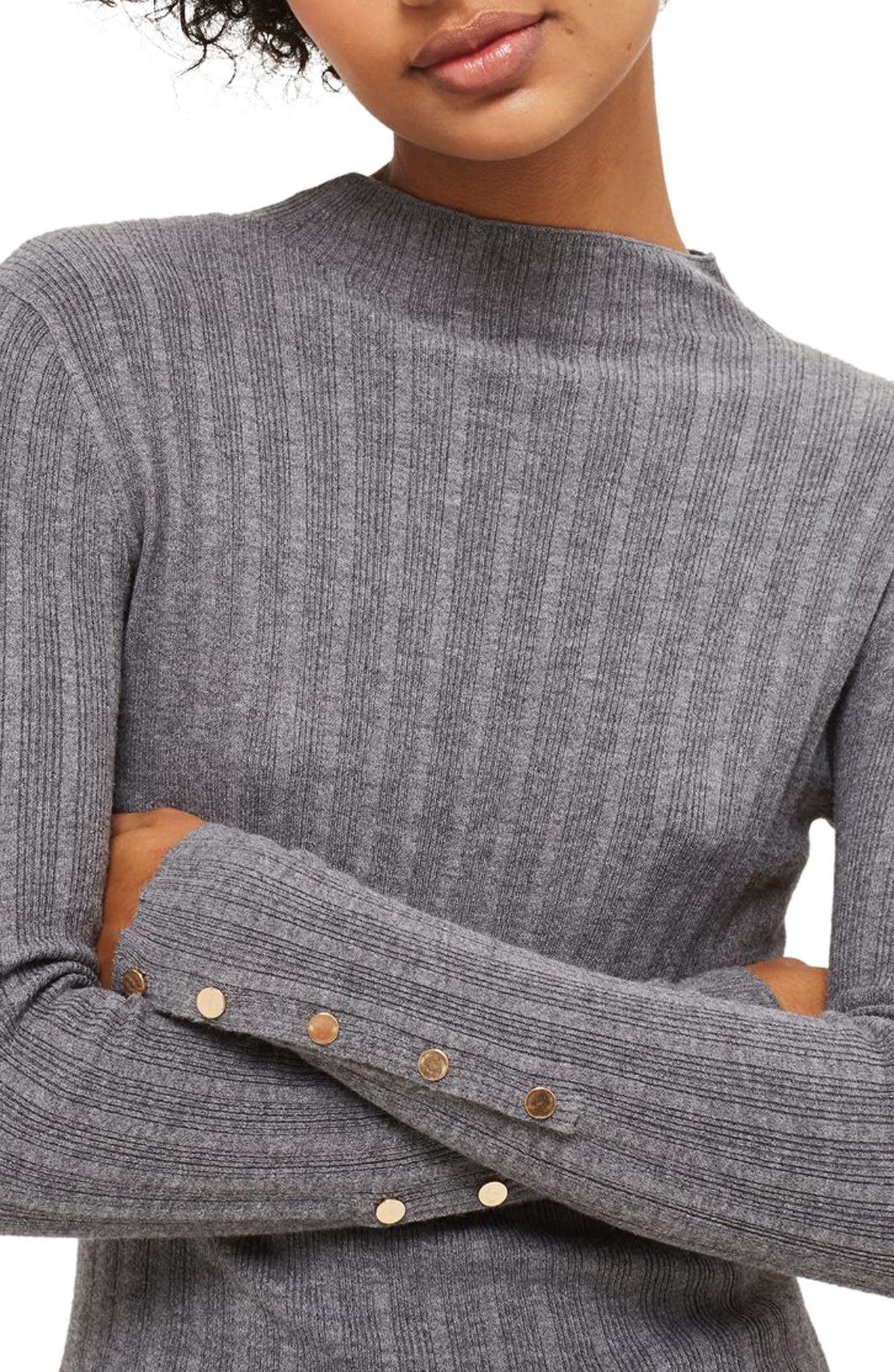 Alternate Image 1 Selected - Topshop Snap Sleeve Ribbed Sweater