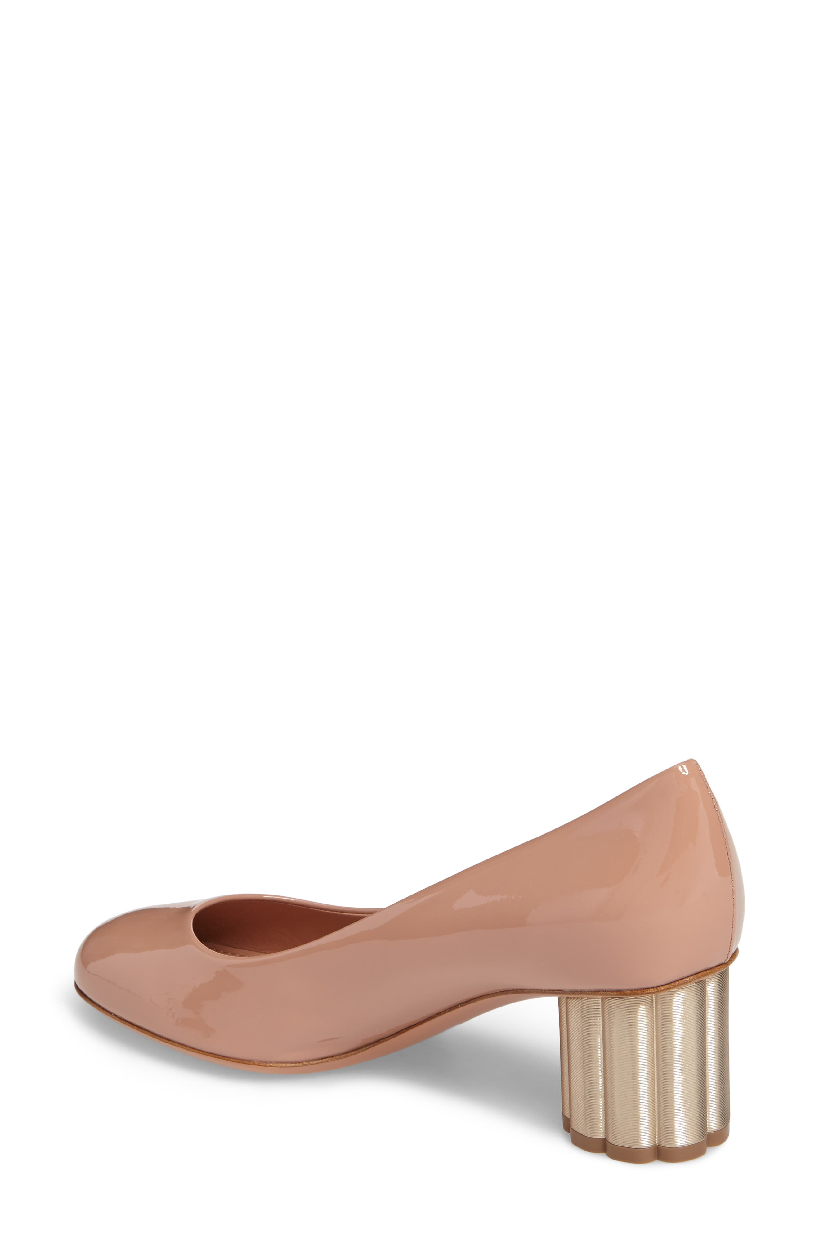Alternate Image 2  - Salvatore Ferragamo Rounded Toe Flower Heel Pump (Women)