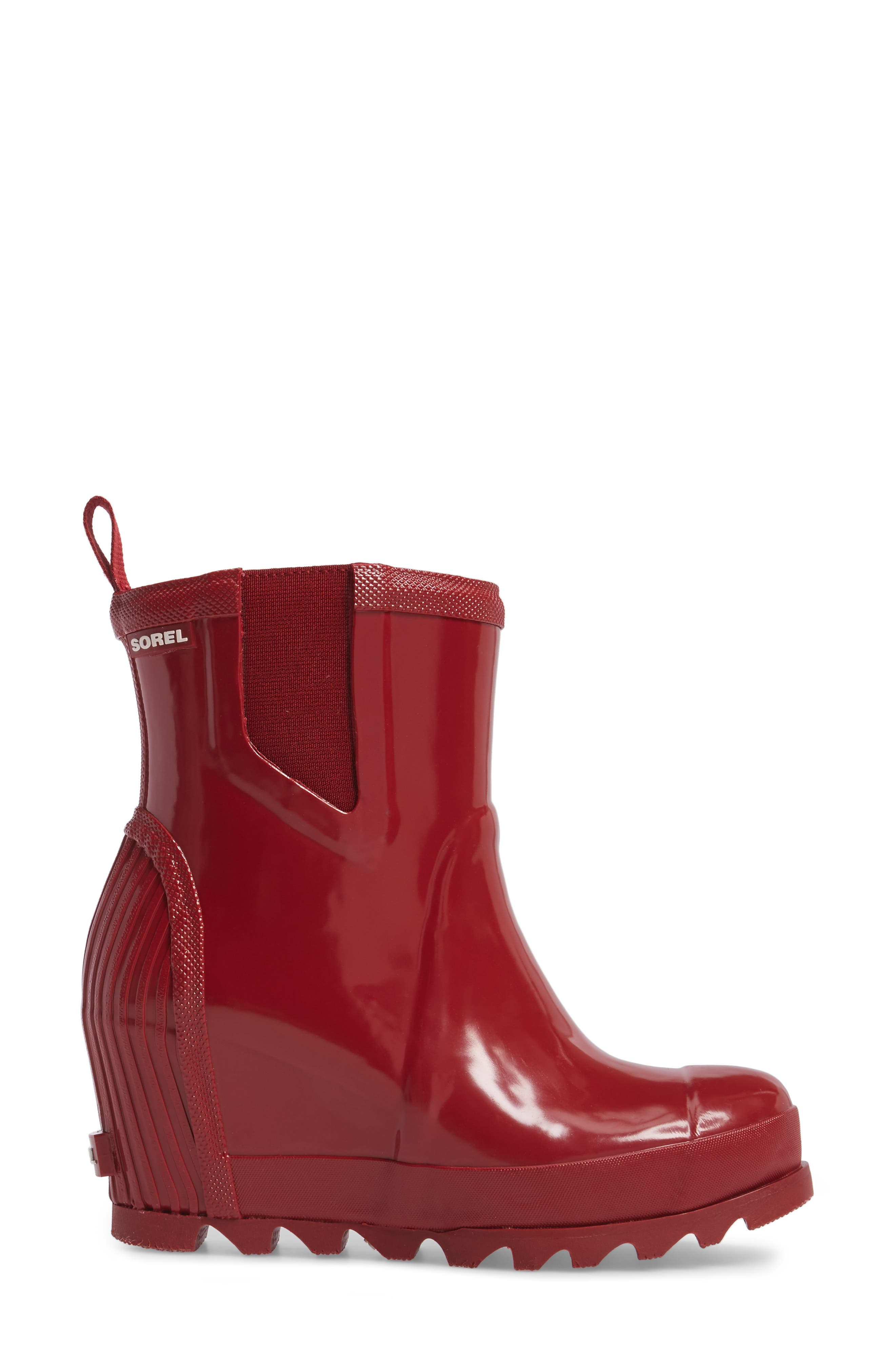 Joan Glossy Wedge Rain Boot,                             Alternate thumbnail 3, color,                             Red Dahlia/ Candy Apple