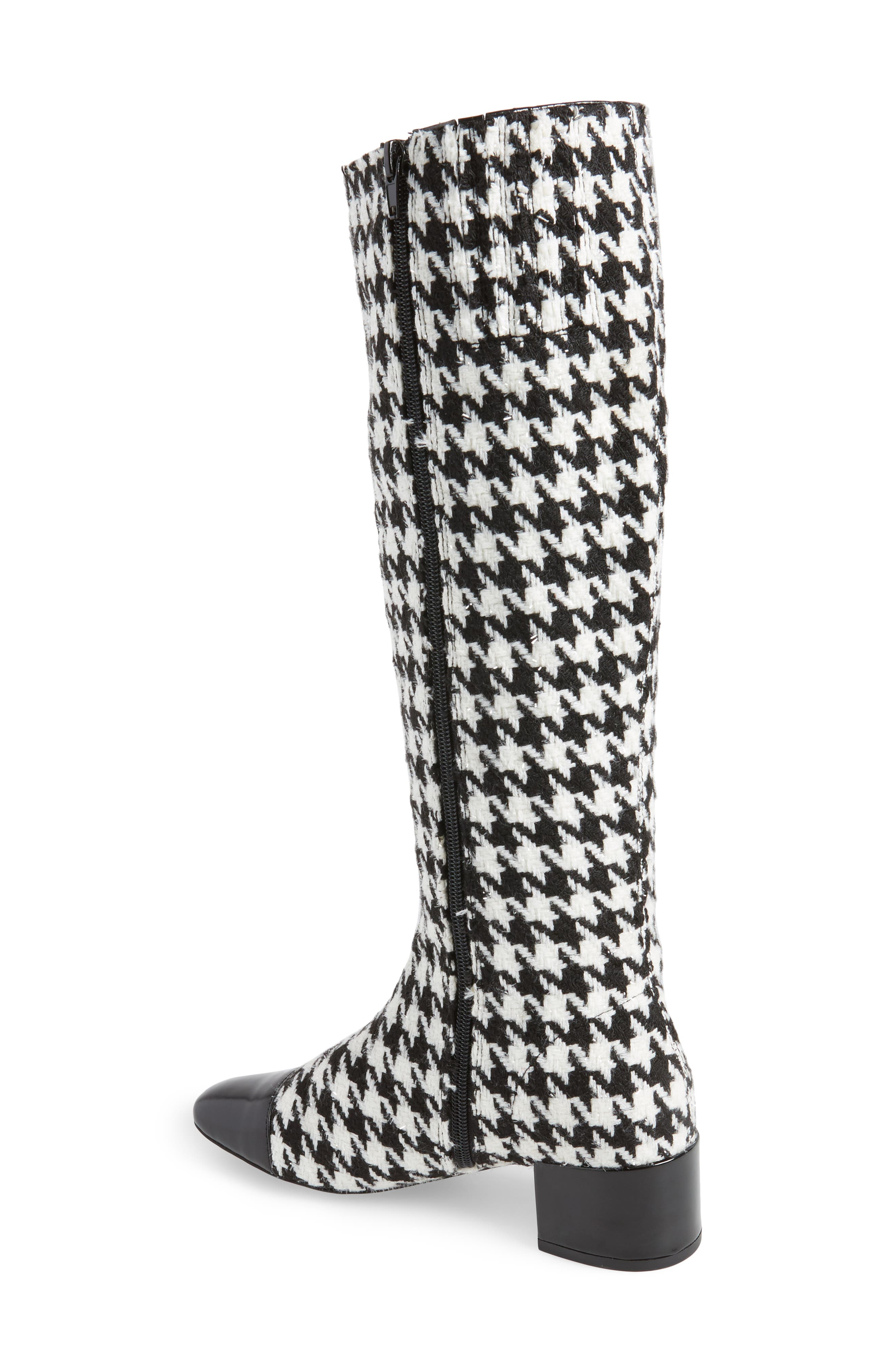 Covey Knee-High Boot,                             Alternate thumbnail 2, color,                             Black White Houndstooth