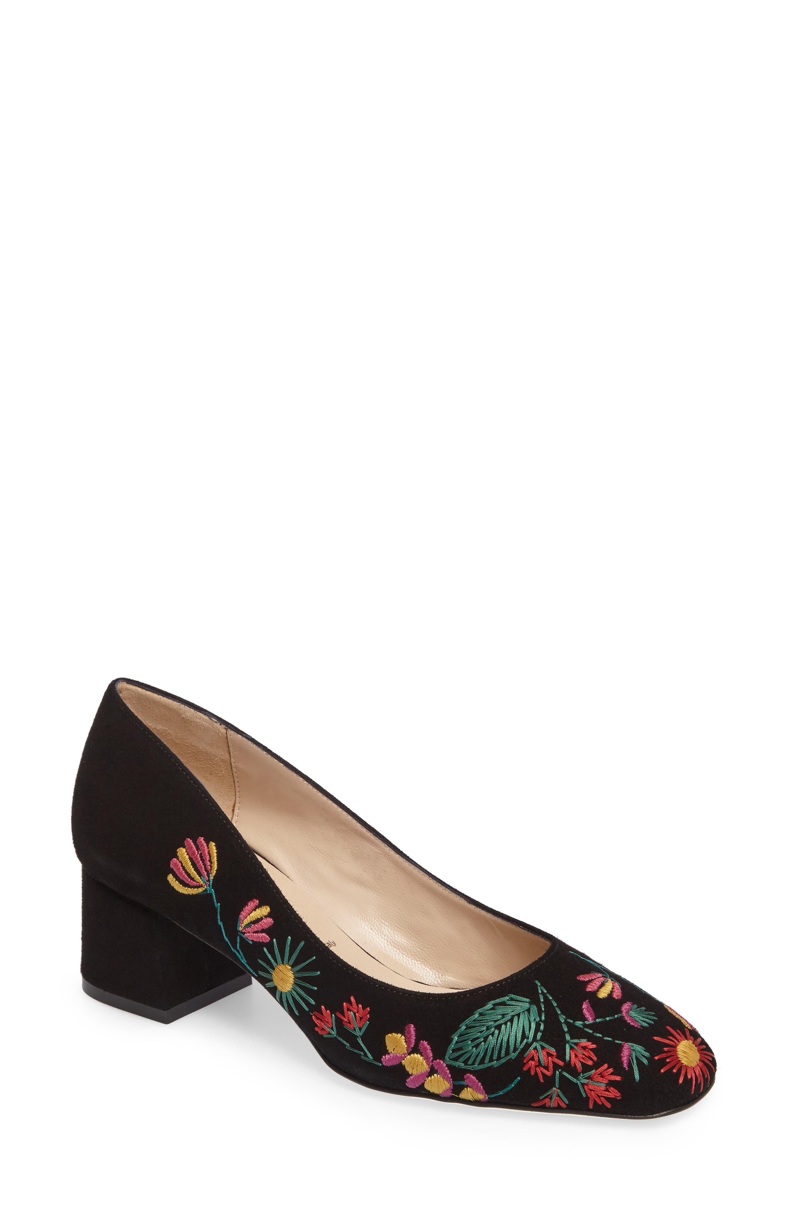 Doreen Embroidered Water Resistant Pump,                         Main,                         color, Black Multi Fabric