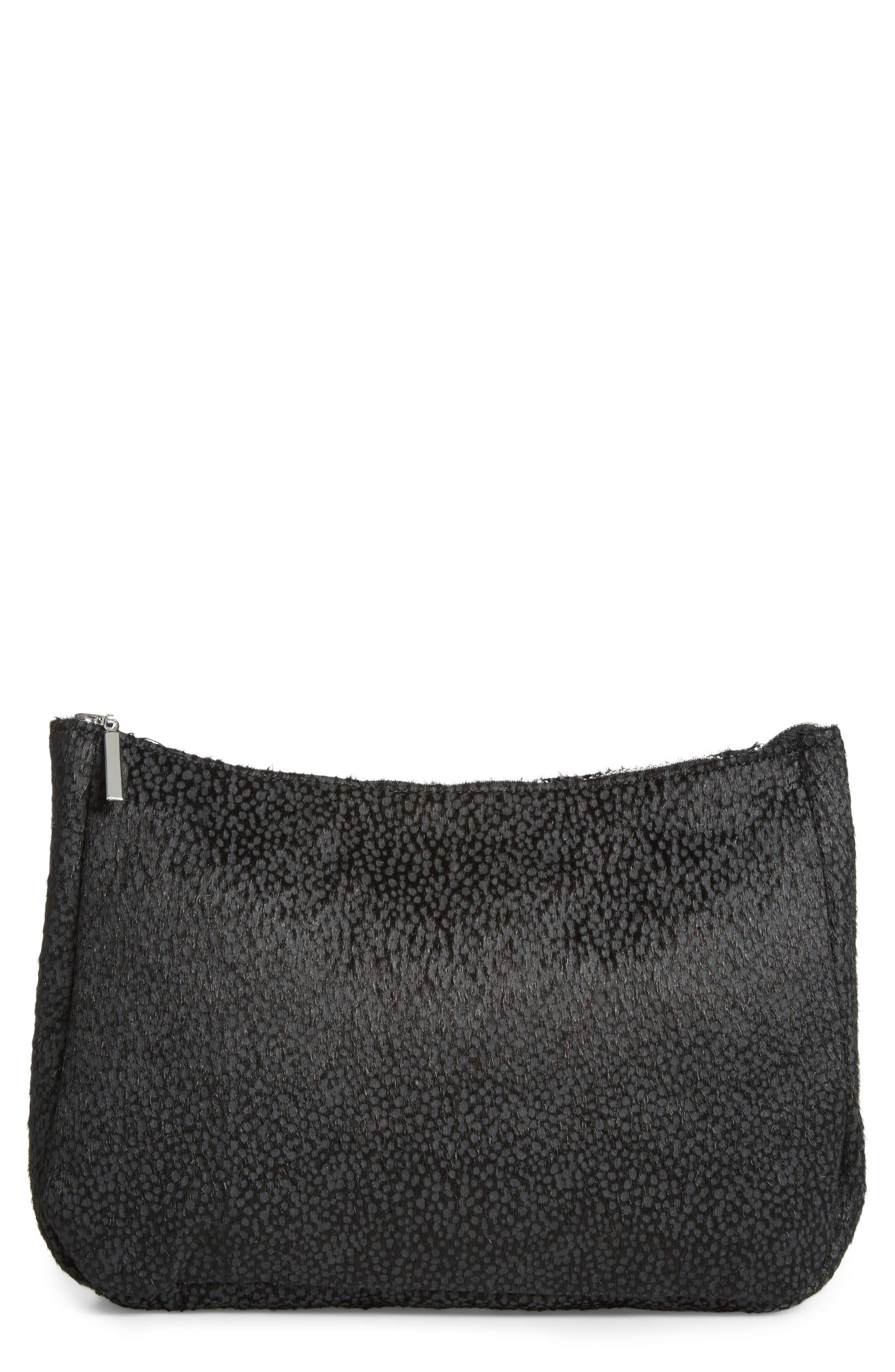 Faux Calf Hair Clutch,                             Main thumbnail 1, color,                             Black