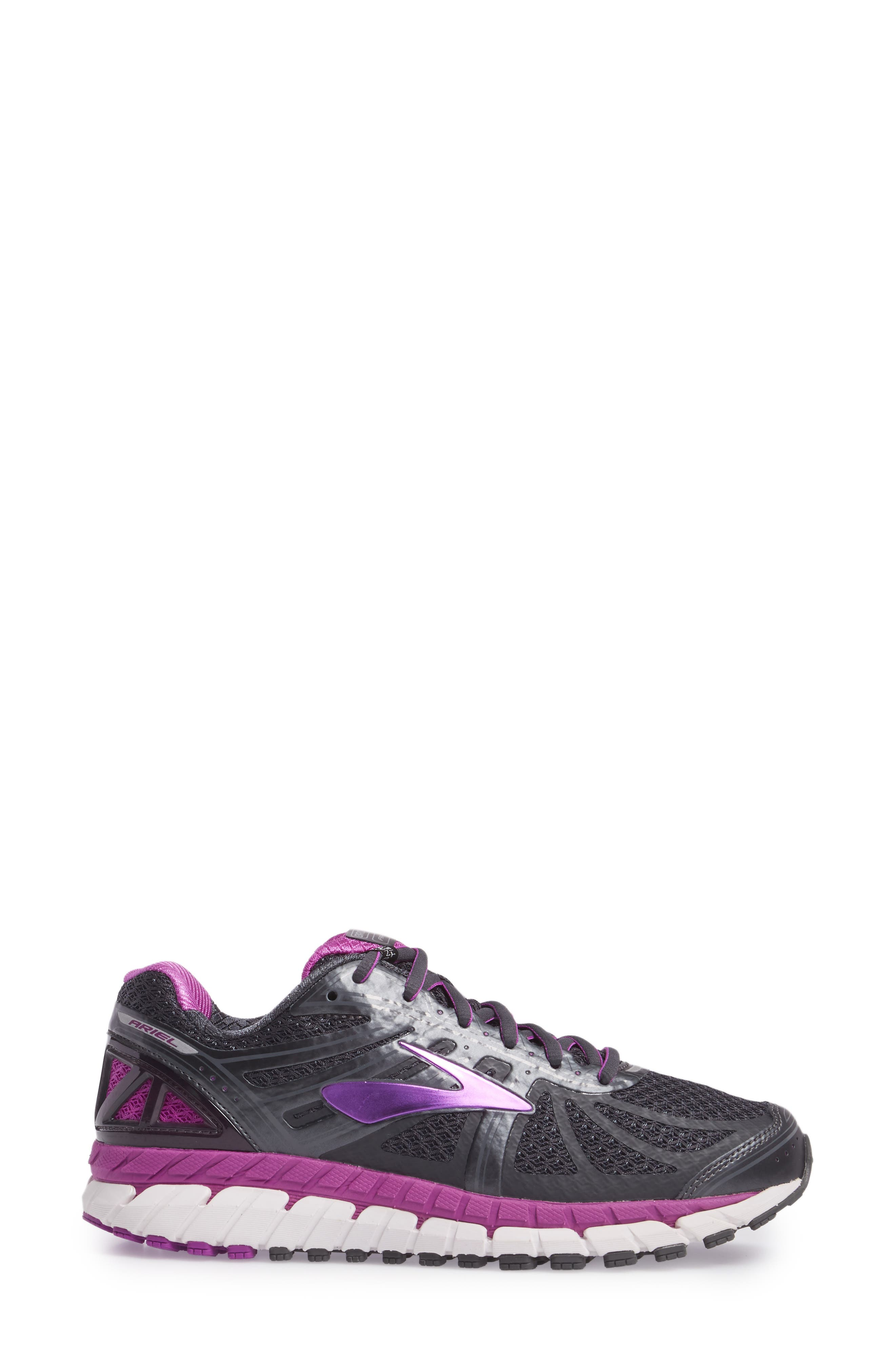 'Ariel 16' Running Shoe,                             Alternate thumbnail 3, color,                             Anthracite/ Purple/ Grey