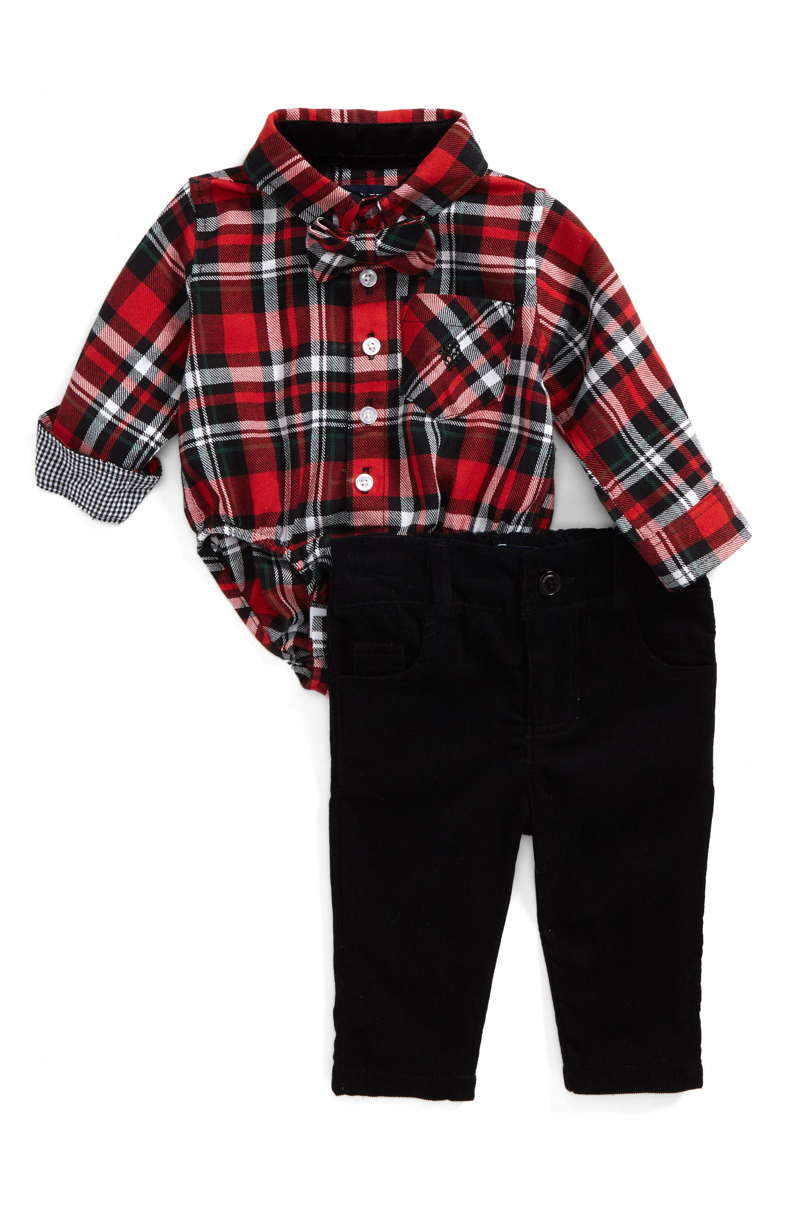 Main Image - Andy & Evan Shirtzie Holiday Plaid Bodysuit, Corduroy Pants & Bow Tie Set (Baby Boys)