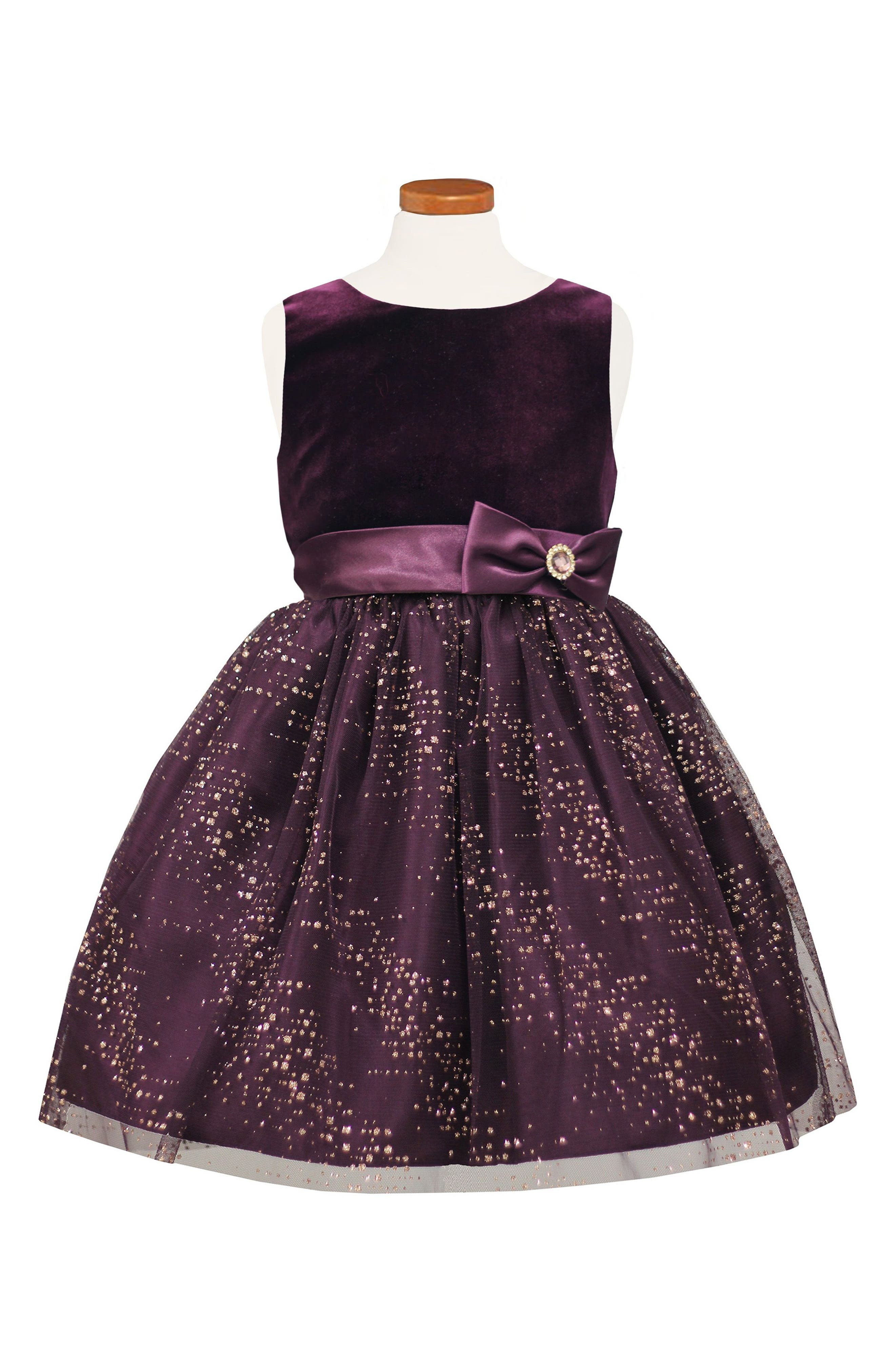 Main Image - Sorbet Velvet Bodice Fit & Flare Dress (Big Girls)
