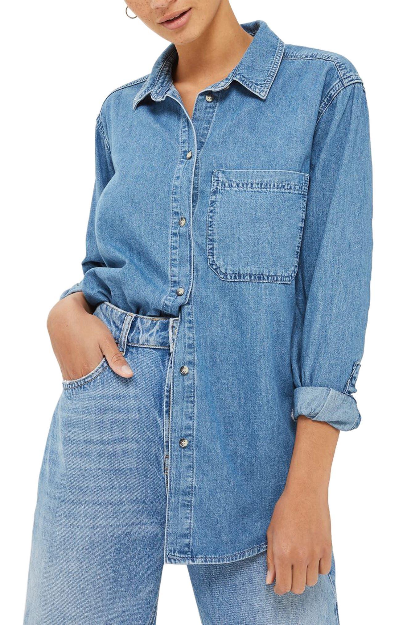 Drake Oversize Denim Shirt,                         Main,                         color, Mid Denim