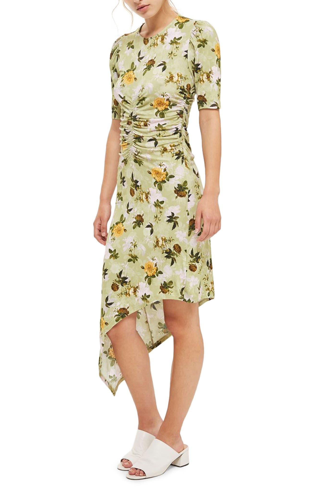 Floral Ruched Asymmetrical Midi Dress,                             Main thumbnail 1, color,                             Green Multi