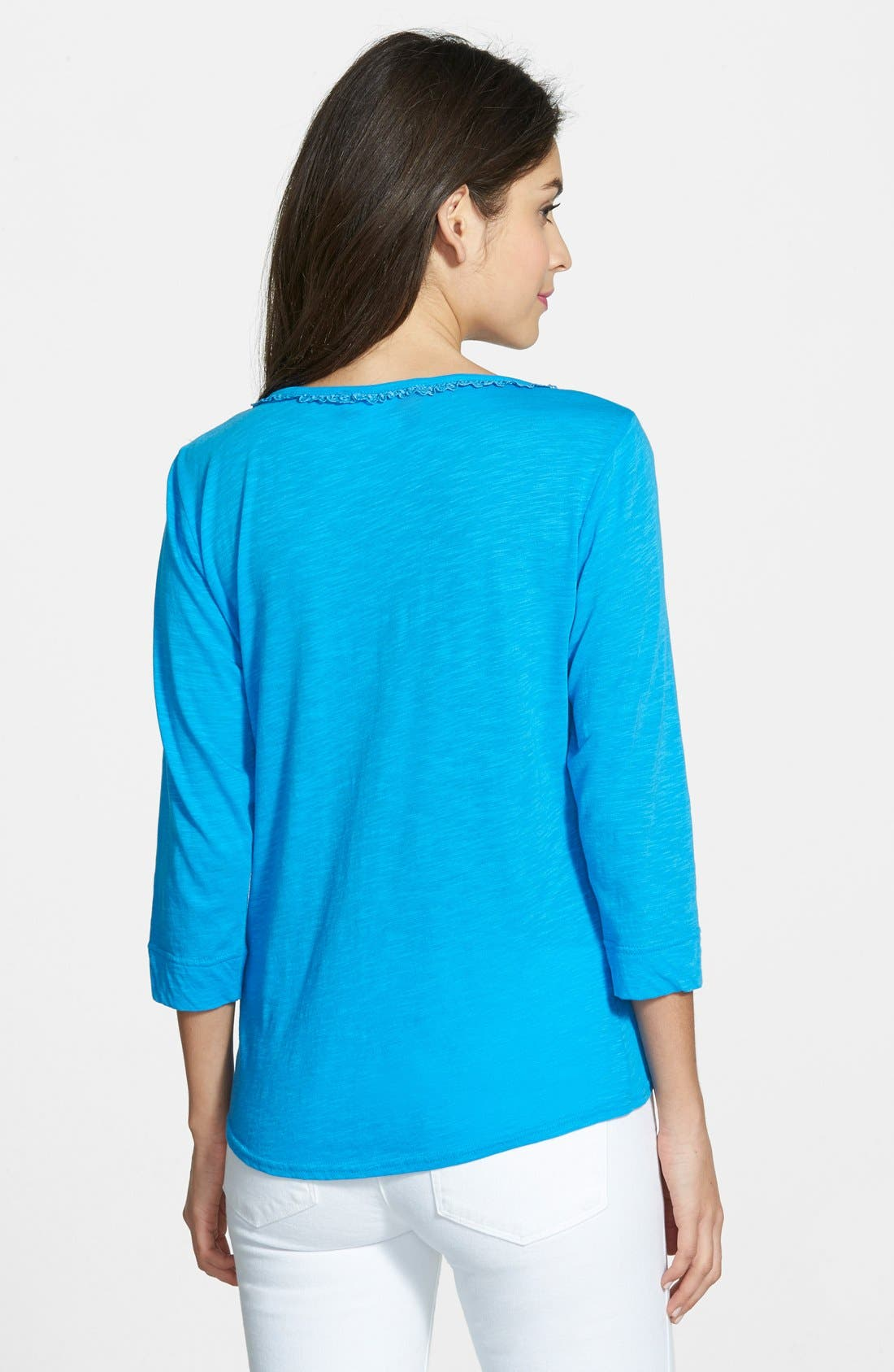 Alternate Image 2  - Two by Vince Camuto Slub Jersey Tie Front Top