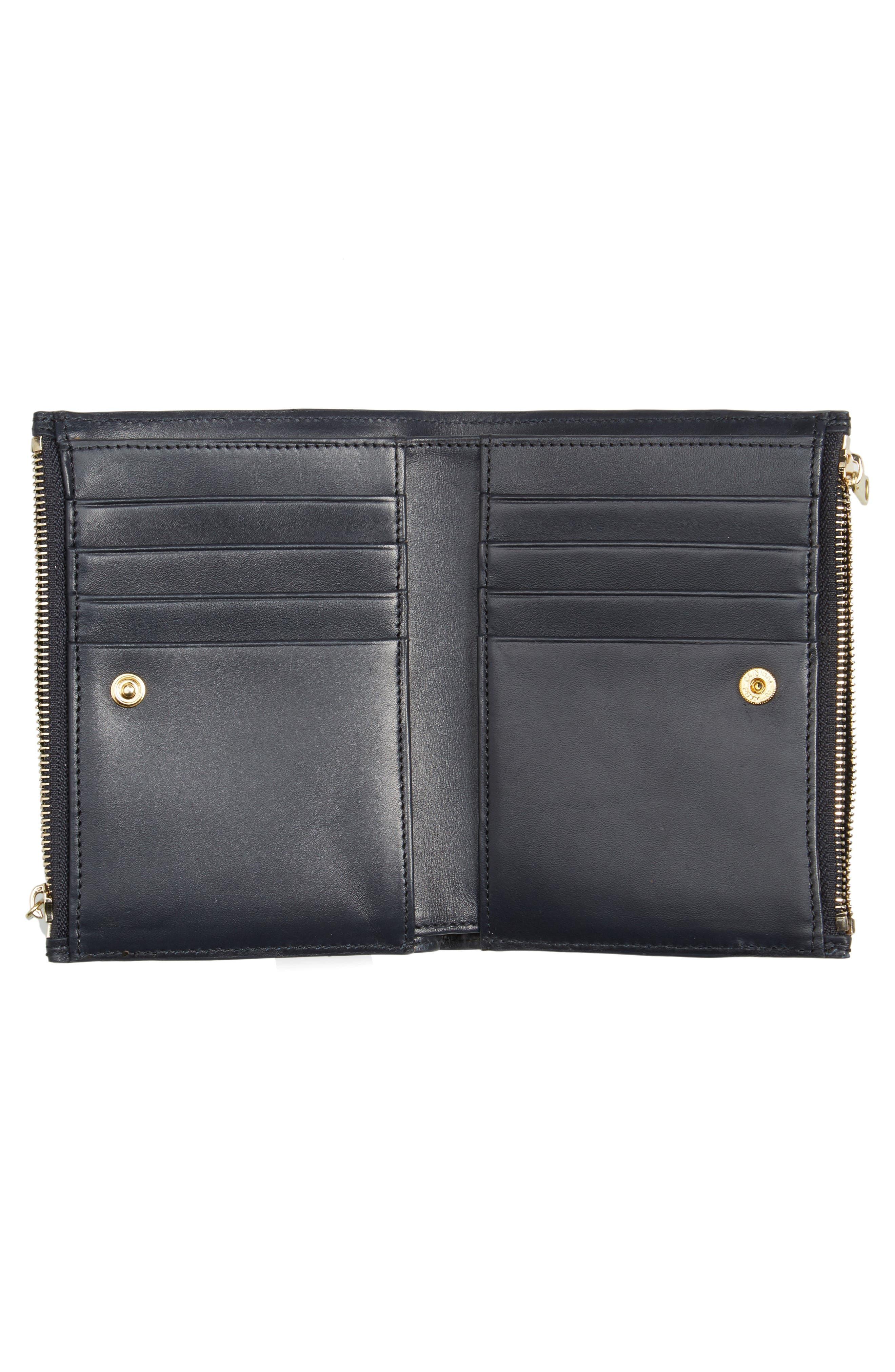 Claudine Calfskin Leather Wallet,                             Alternate thumbnail 2, color,                             Dark Navy