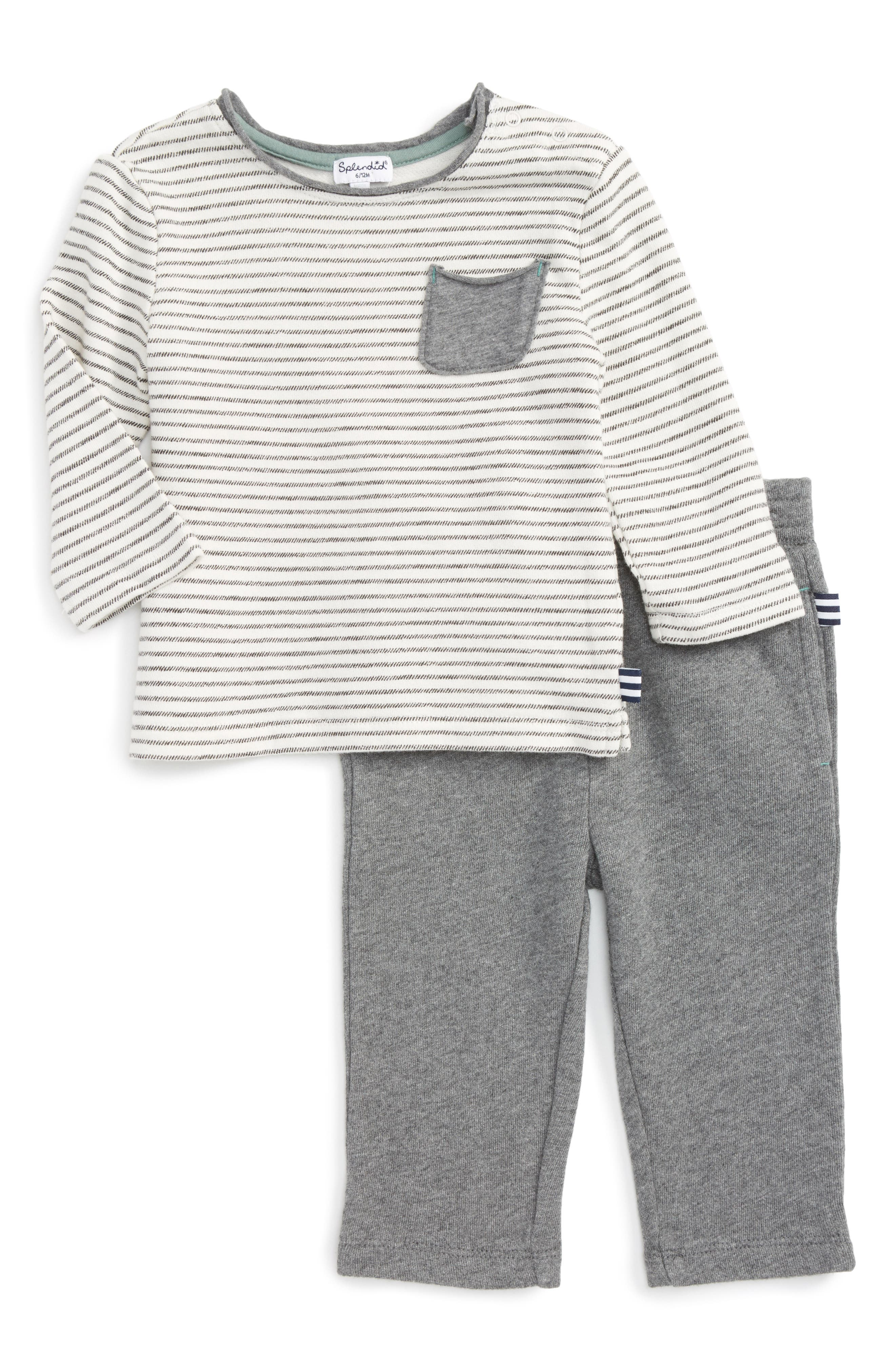 Alternate Image 1 Selected - Splendid Stripe T-Shirt & Pants (Baby Boys)