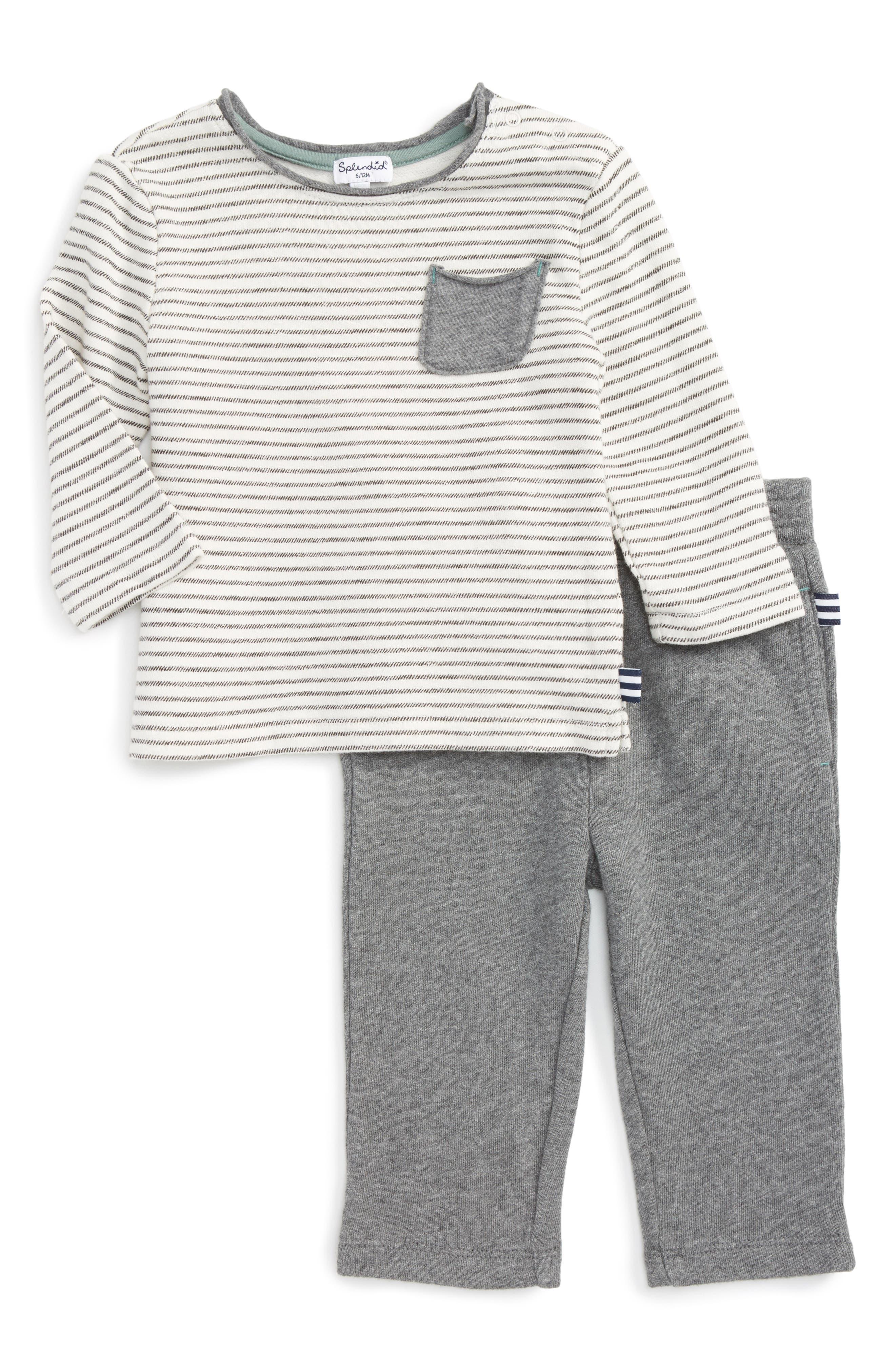 Stripe T-Shirt & Pants,                         Main,                         color, Off White S102