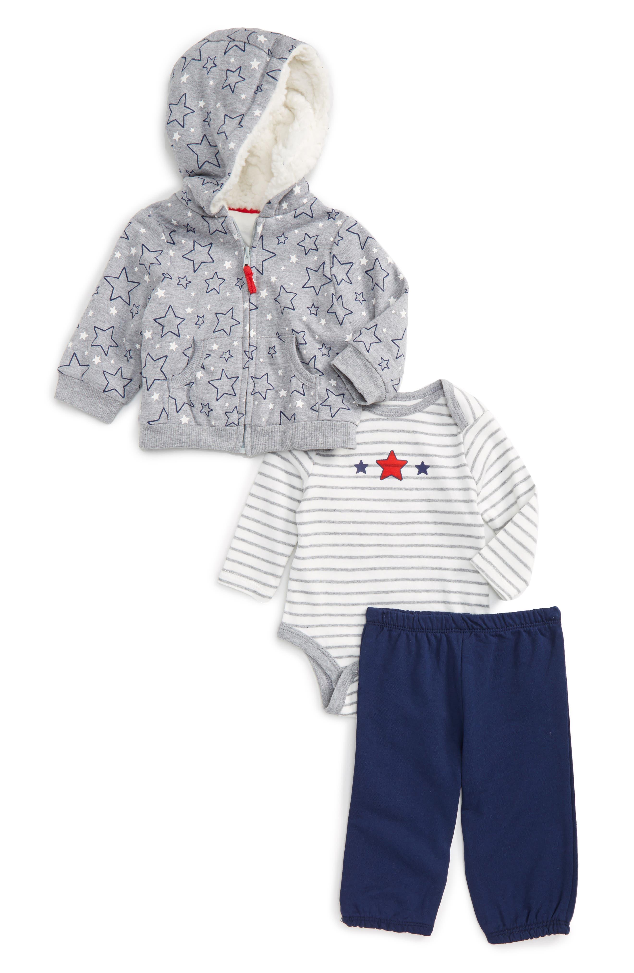 Little Me Star Hoodie, Bodysuit & Pants Set (Baby Boys)