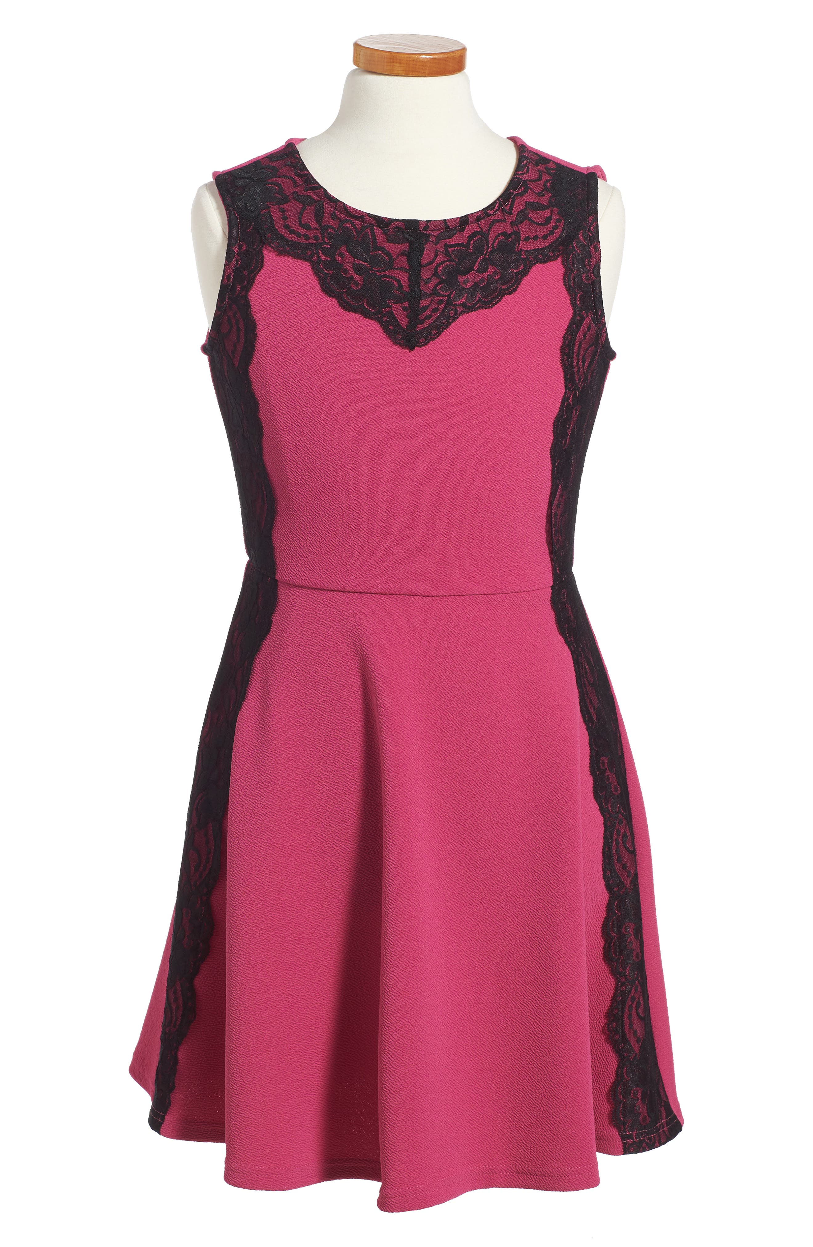 Lace Trim Piqué Dress,                             Main thumbnail 1, color,                             Raspberry